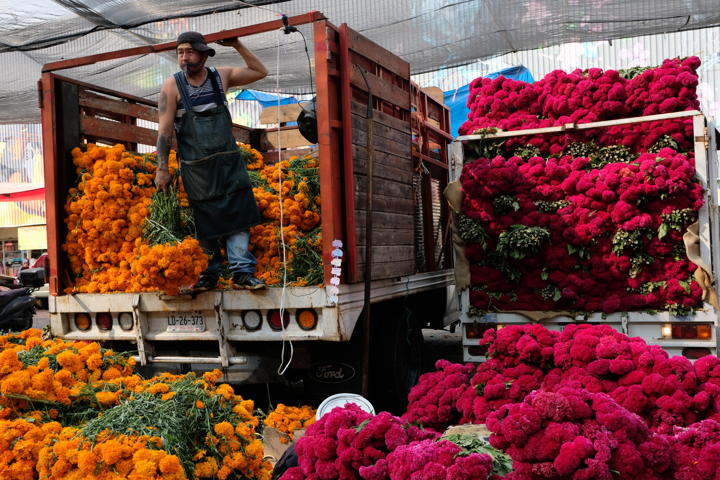 A man stands inside a truck bursting with gold and pink flowers all around him in a market in Mexico