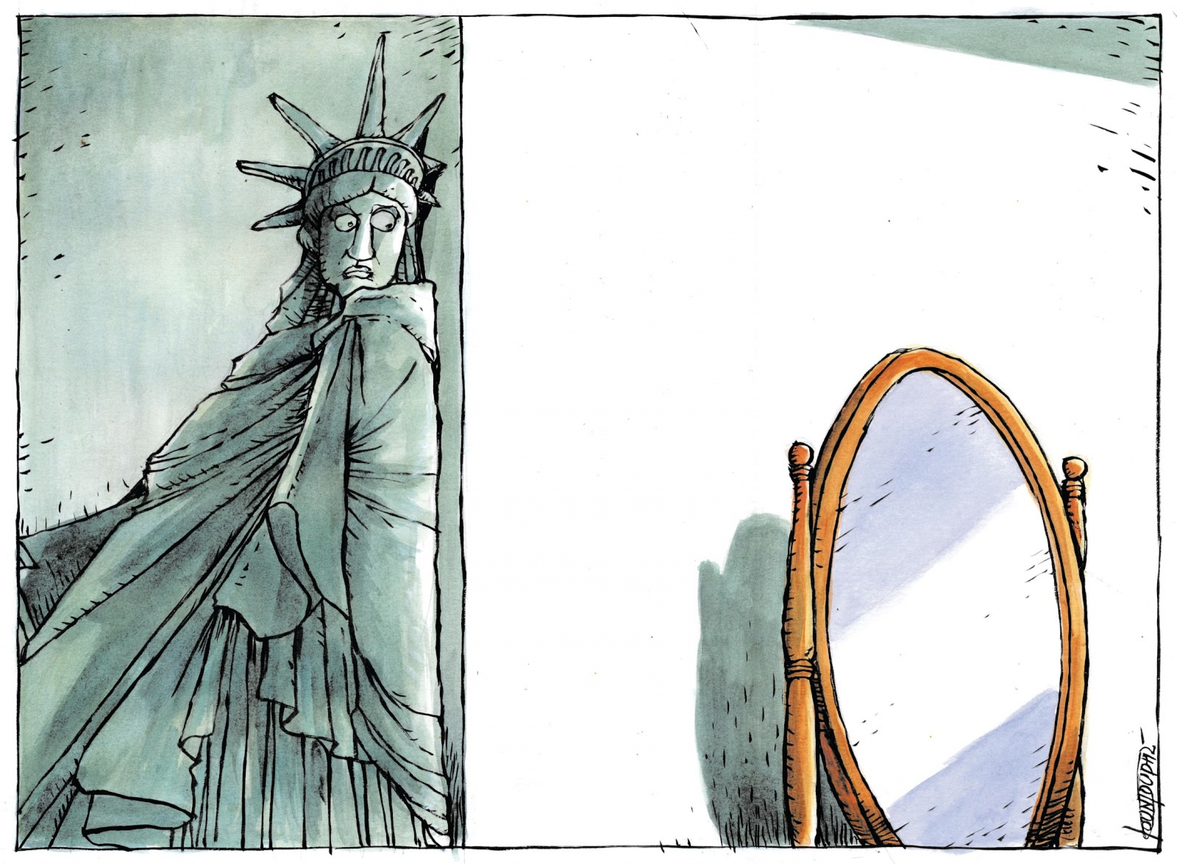 Statue of liberty is afraid to look in the mirror