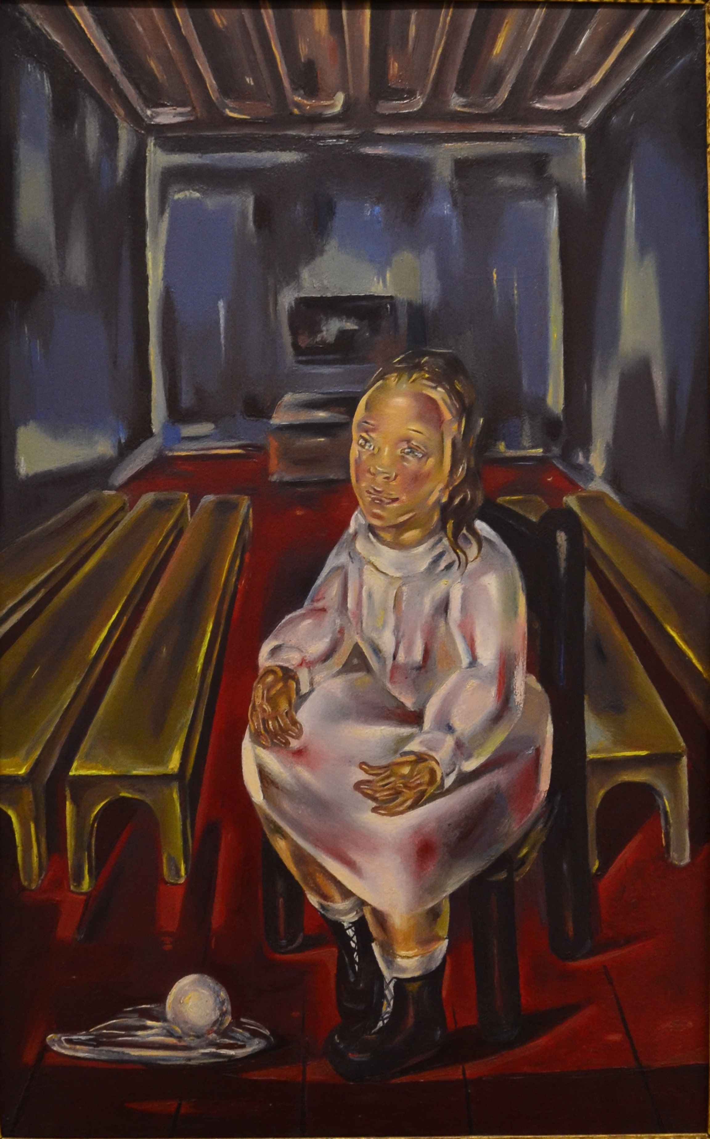 """María Blanchard (1881-1932), """"Seated Girl (in the bench room),"""" oil on canvas, 1925. Acquired at public sale in 1954."""