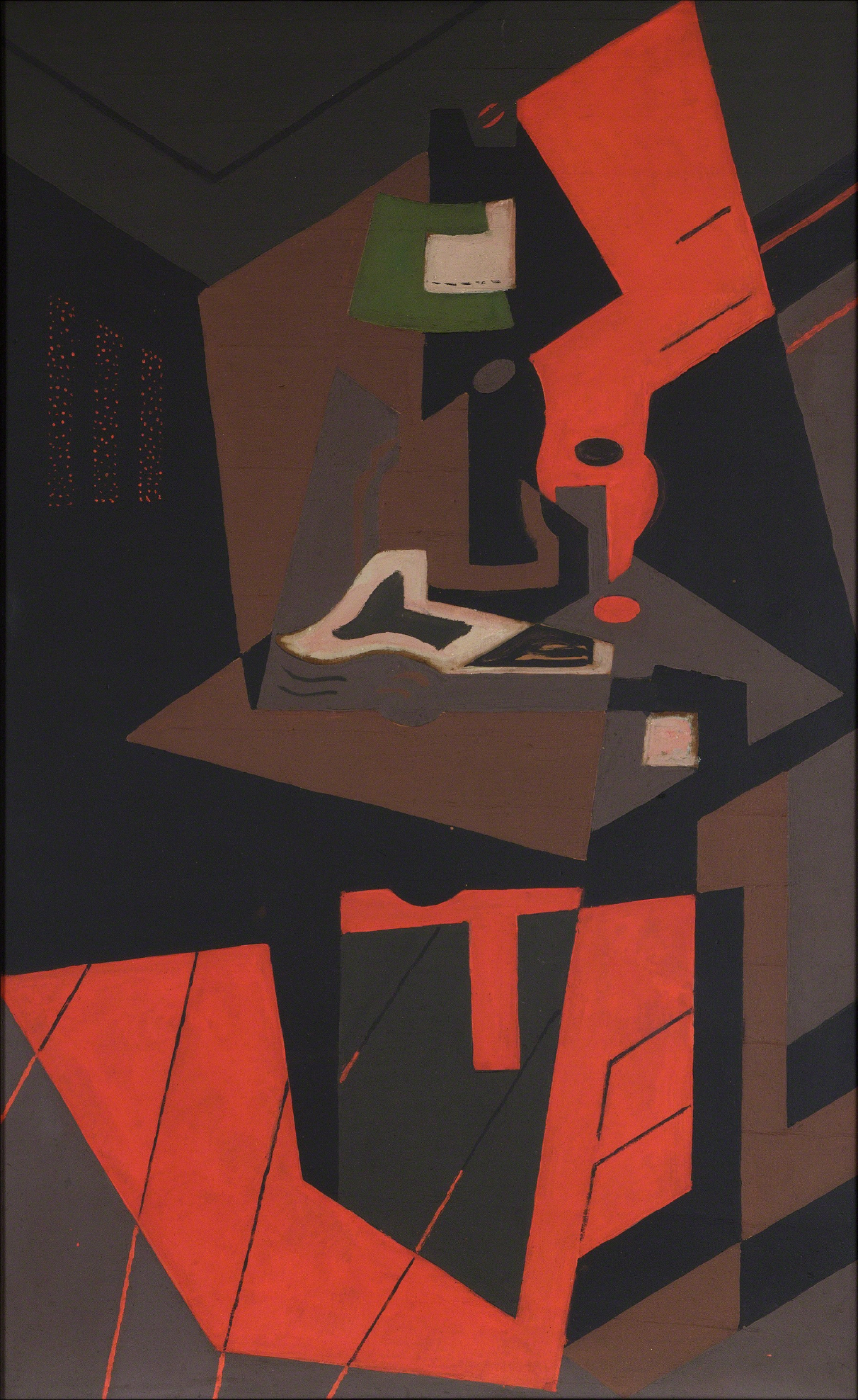 """María Blanchard, 1916–18, """"Still Life with Red Lamp,"""" oil on canvas."""