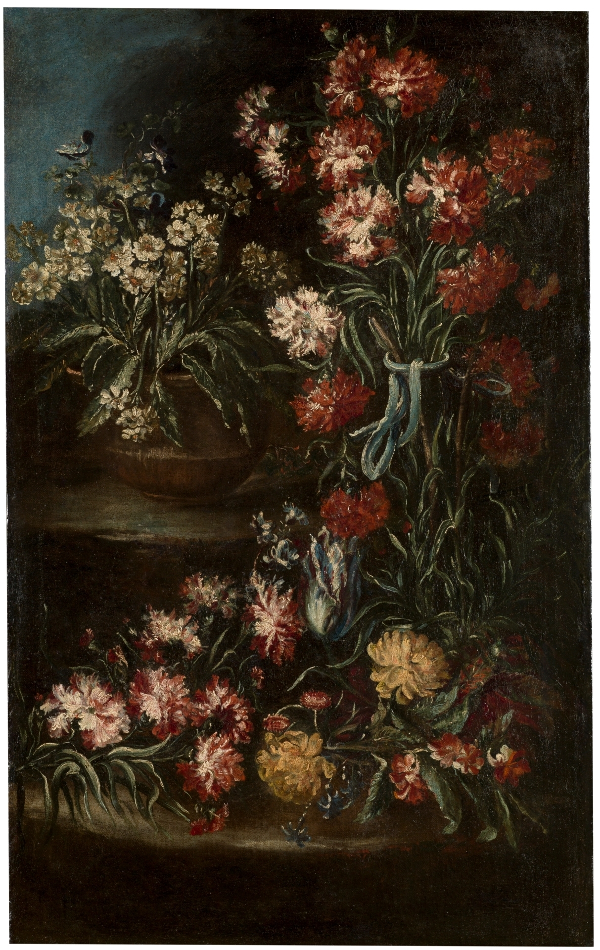 painting of dark flowers of various pinks, yellows and reds with black background.