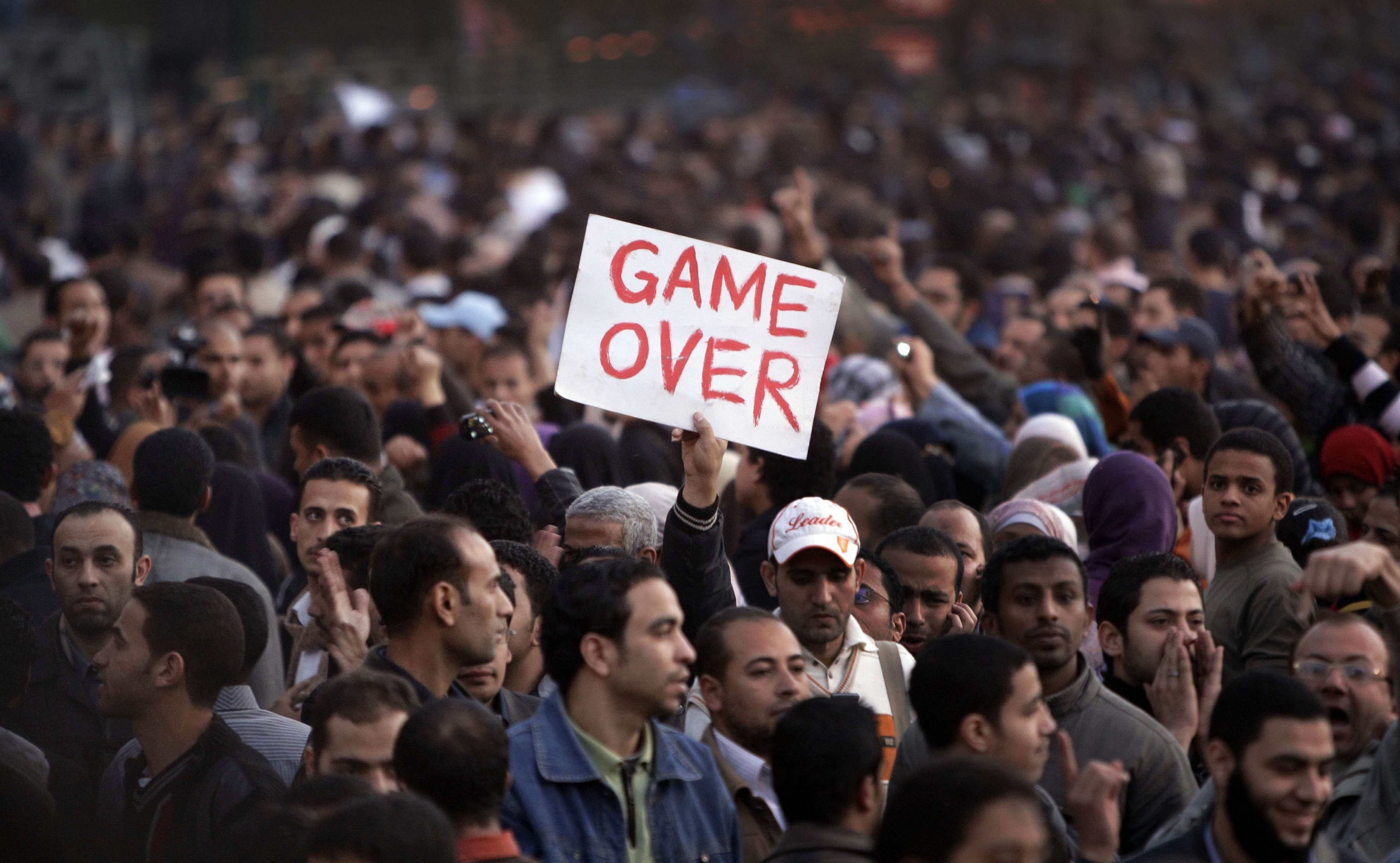 In this Jan. 29, 2011 file photo, anti-government protesters gather in Tahrir Square, Cairo, Egypt.