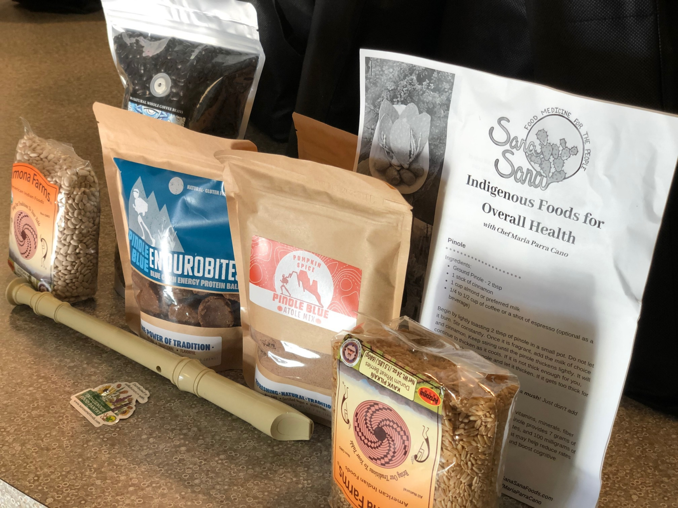 The food care packages distributed by the Cihuapactli Collective contain Indigenous products that are organic and fair trade.