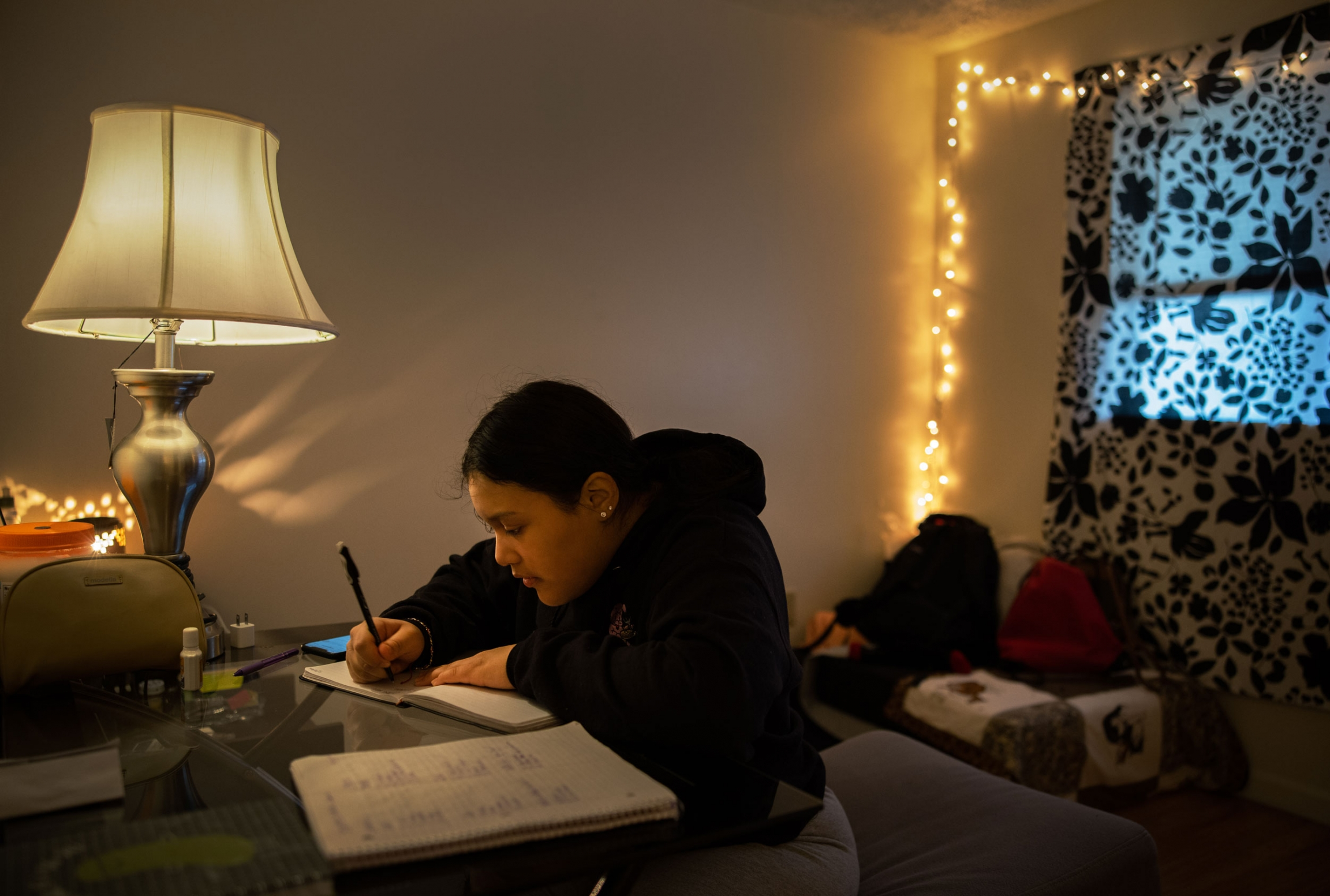 A woman is shown sitting at a desk writing in her journal with a lamp off to the side.