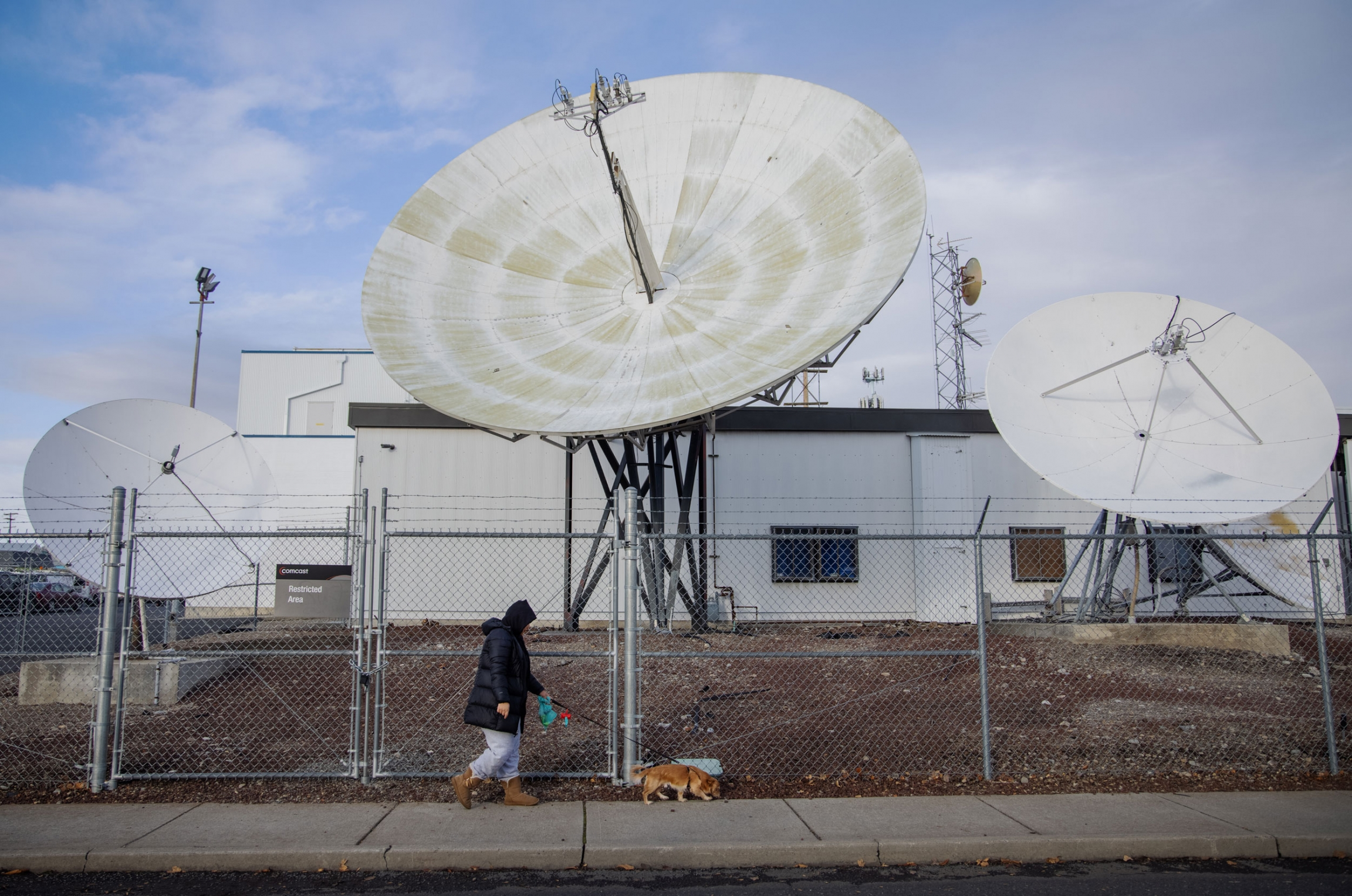 A woman is shown walking a small brown dog with a chain link fence and large satellite dishes in the distance.