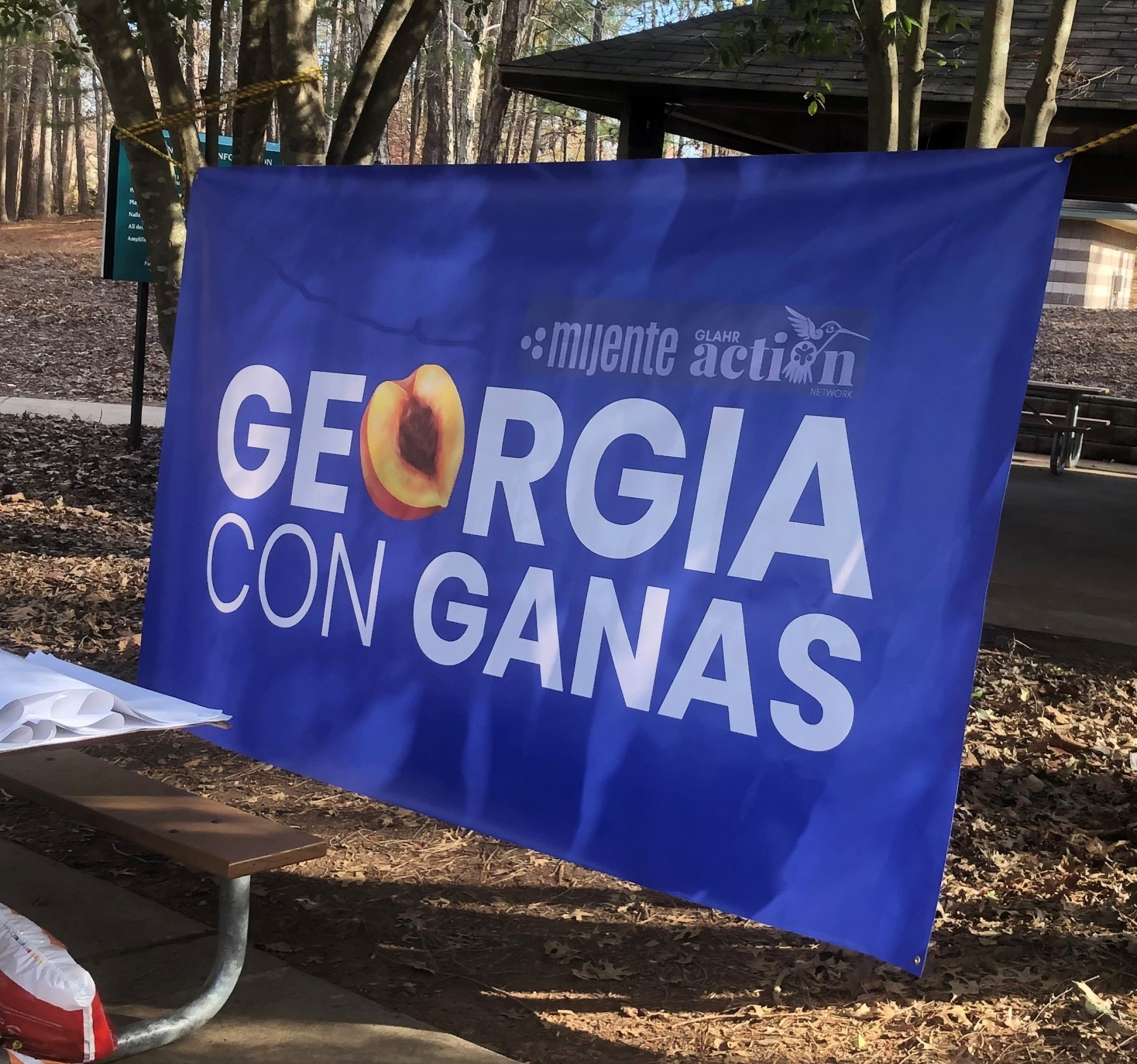 """A blue sign with white letters says """"Georgia con ganas."""""""