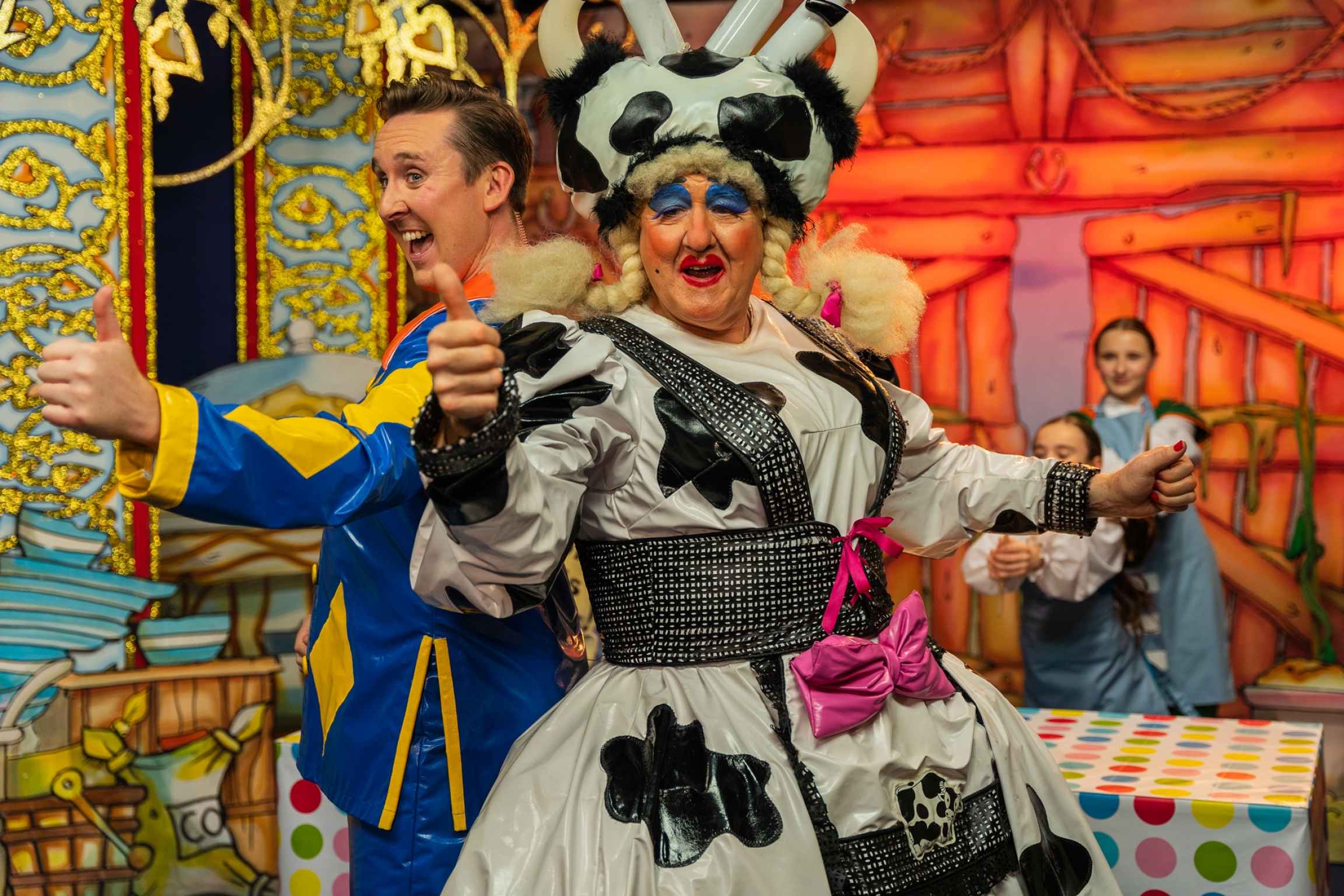 Craig Hollingsworth (Simon Trott)and Iain Lauchlan (Dame Trott) usually perform in the UK's Belgrade Theatre's Christmas pantomime.
