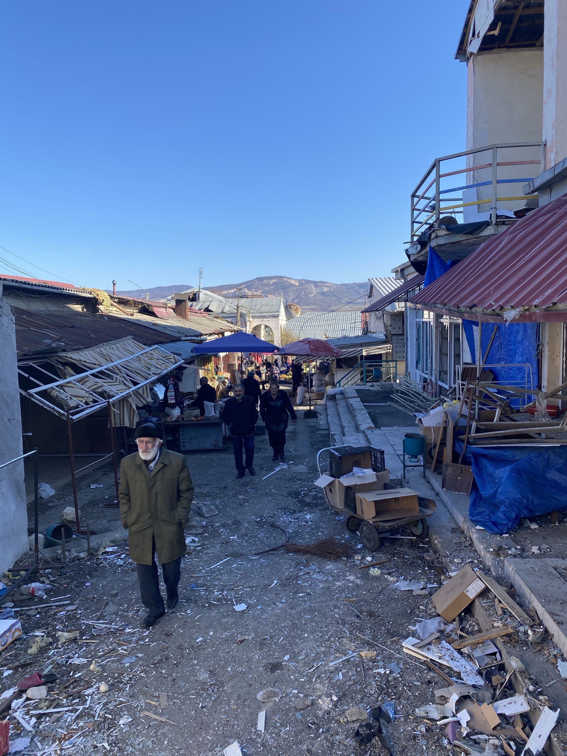 Business slowly restarts in the market of Stepanakert, the de facto capital of Nagorno-Karabakh,after being shelled during the war.