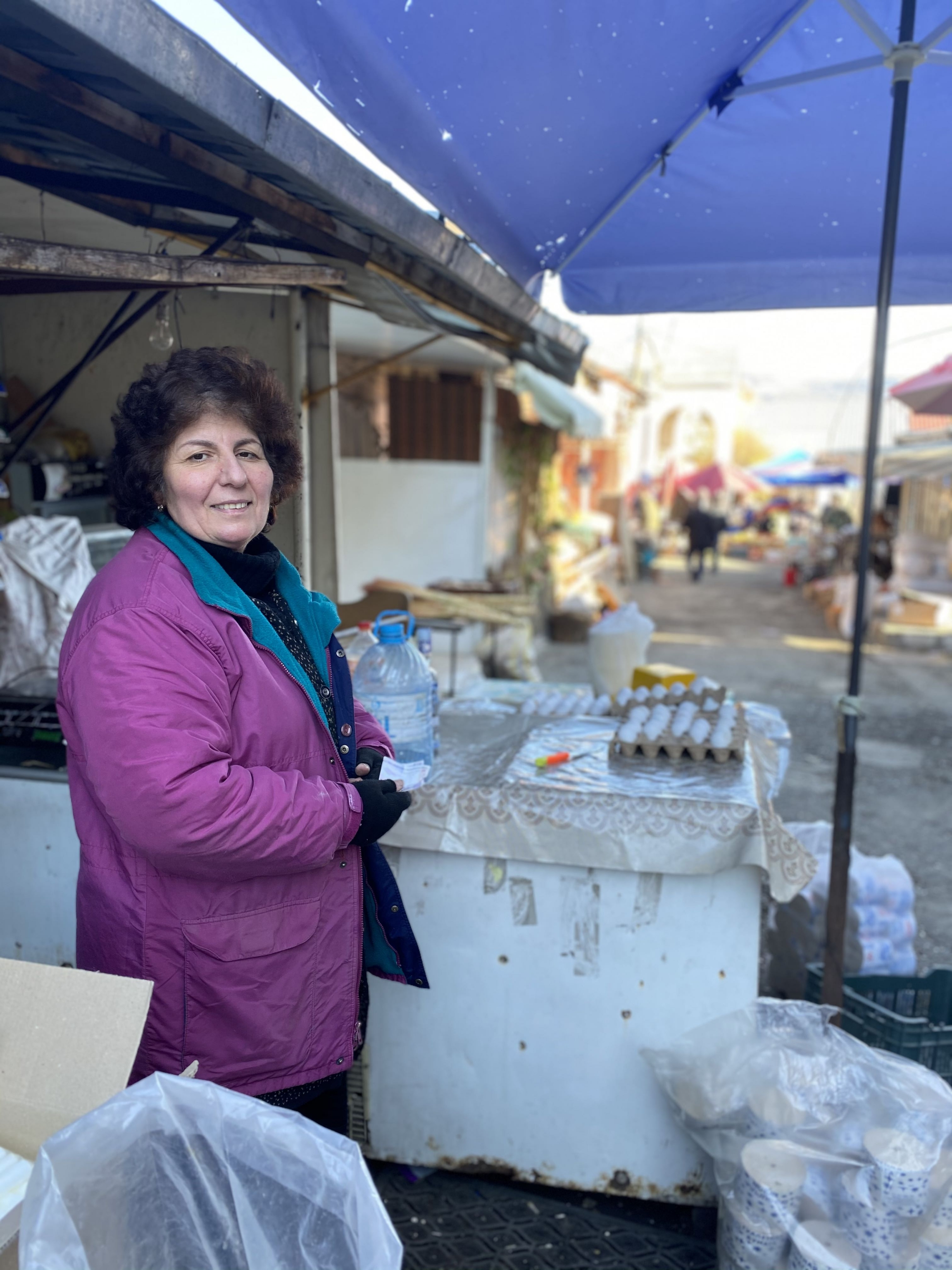 Rima Arushanyan, 58, sells eggs and homemade vodka in the Stepanakert market. Stepanakert is the de facto capital of Nagorno-Karabakh.