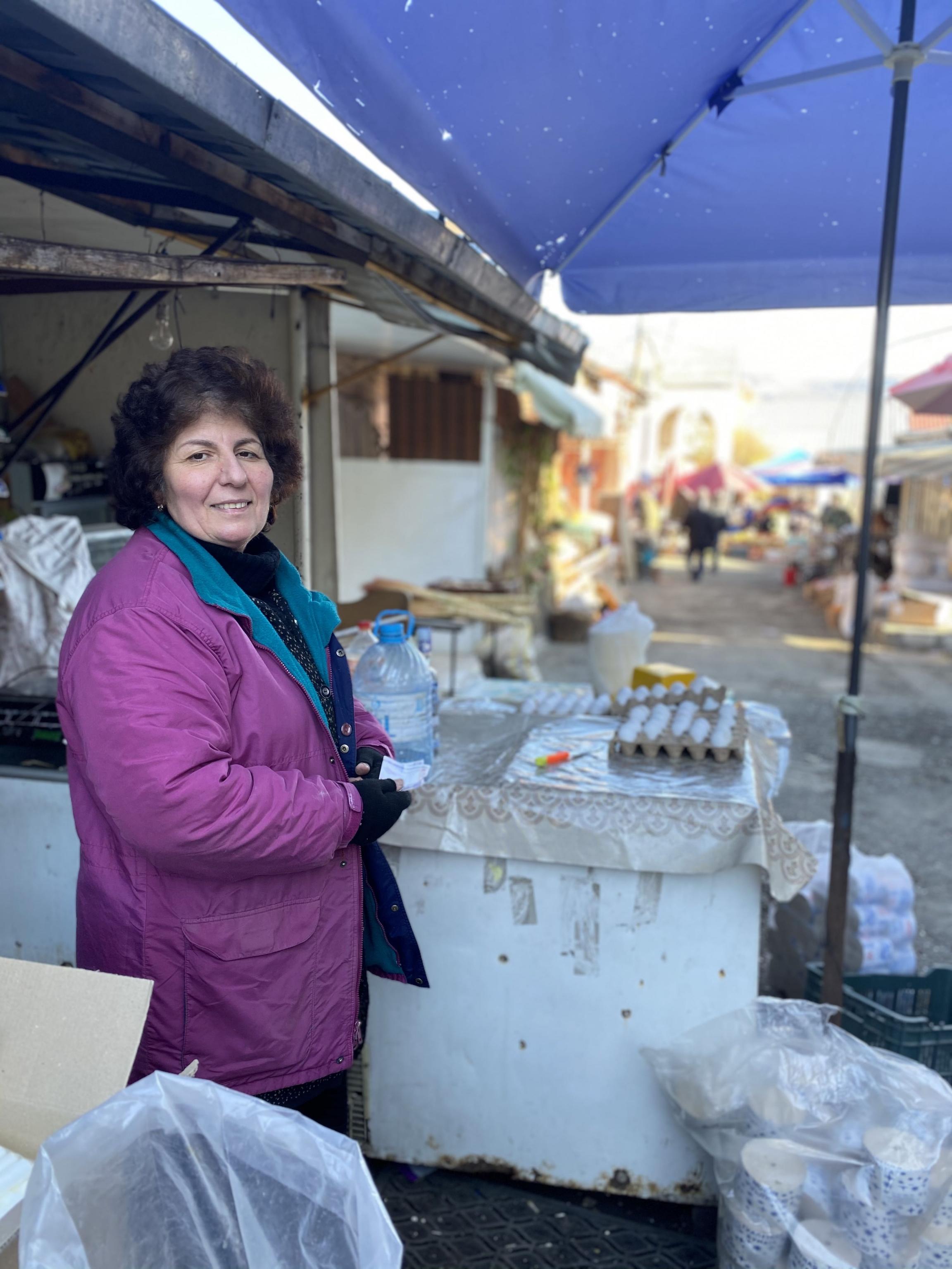 Rima Arushanyan, 58, sells eggs and homemade vodka in the Stepanakert market.Stepanakert is the de facto capital of Nagorno-Karabakh.