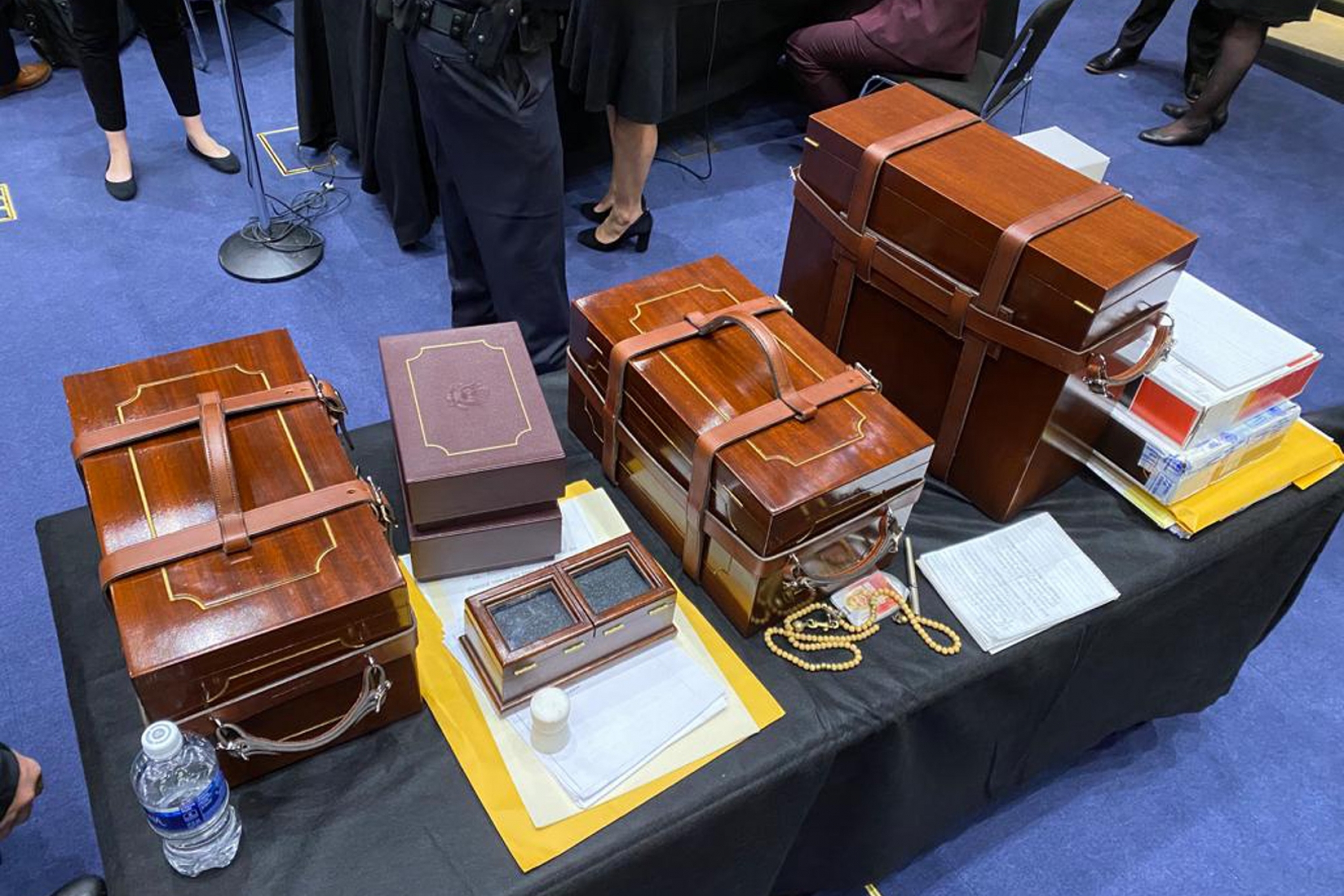 Electoral College ballots sit on a table after they were rescued from the Senate floor, Wednesday, Jan. 6, 2020, Washington, DC.