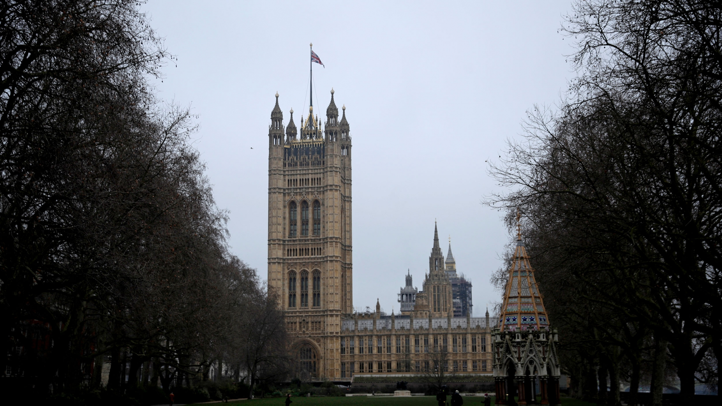 The Houses of Parliament is shown in the distance in London with trees framing the either side of the photograph.