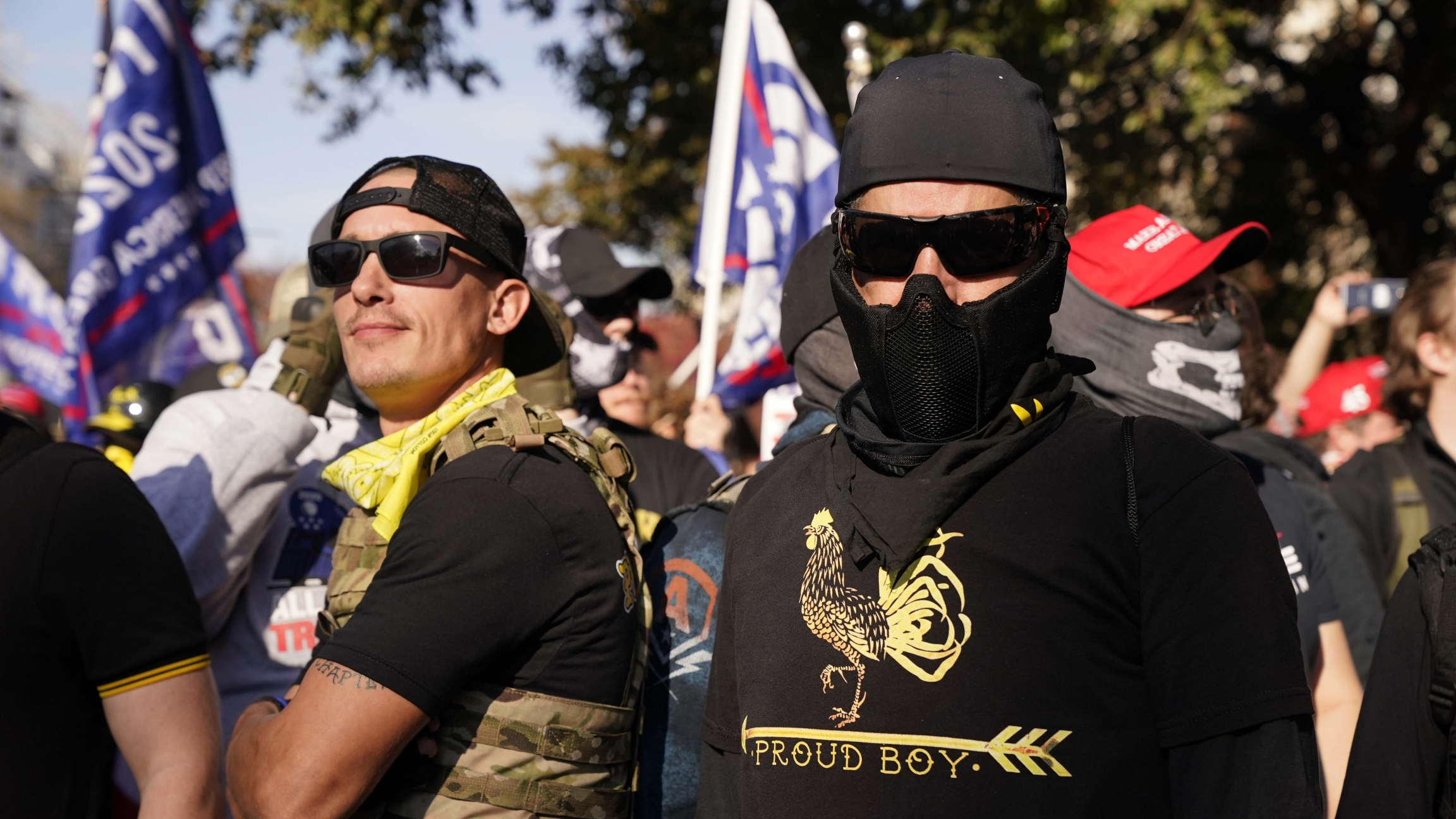 People wearing shirts with Proud Boys on them join supporters of President Donald Trump in a march Nov. 14, 2020, in Washington, DC.
