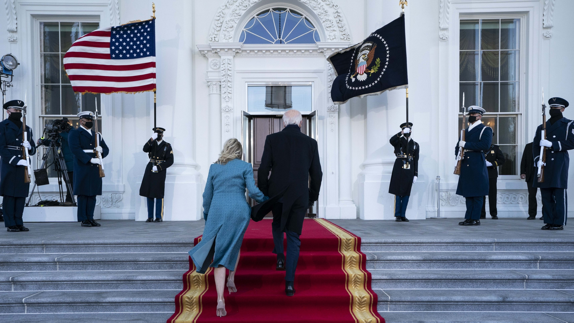 President Joe Biden and first lady Jill Biden arrive at the North Portico of the White House, Jan. 20, 2021, in Washington, DC.
