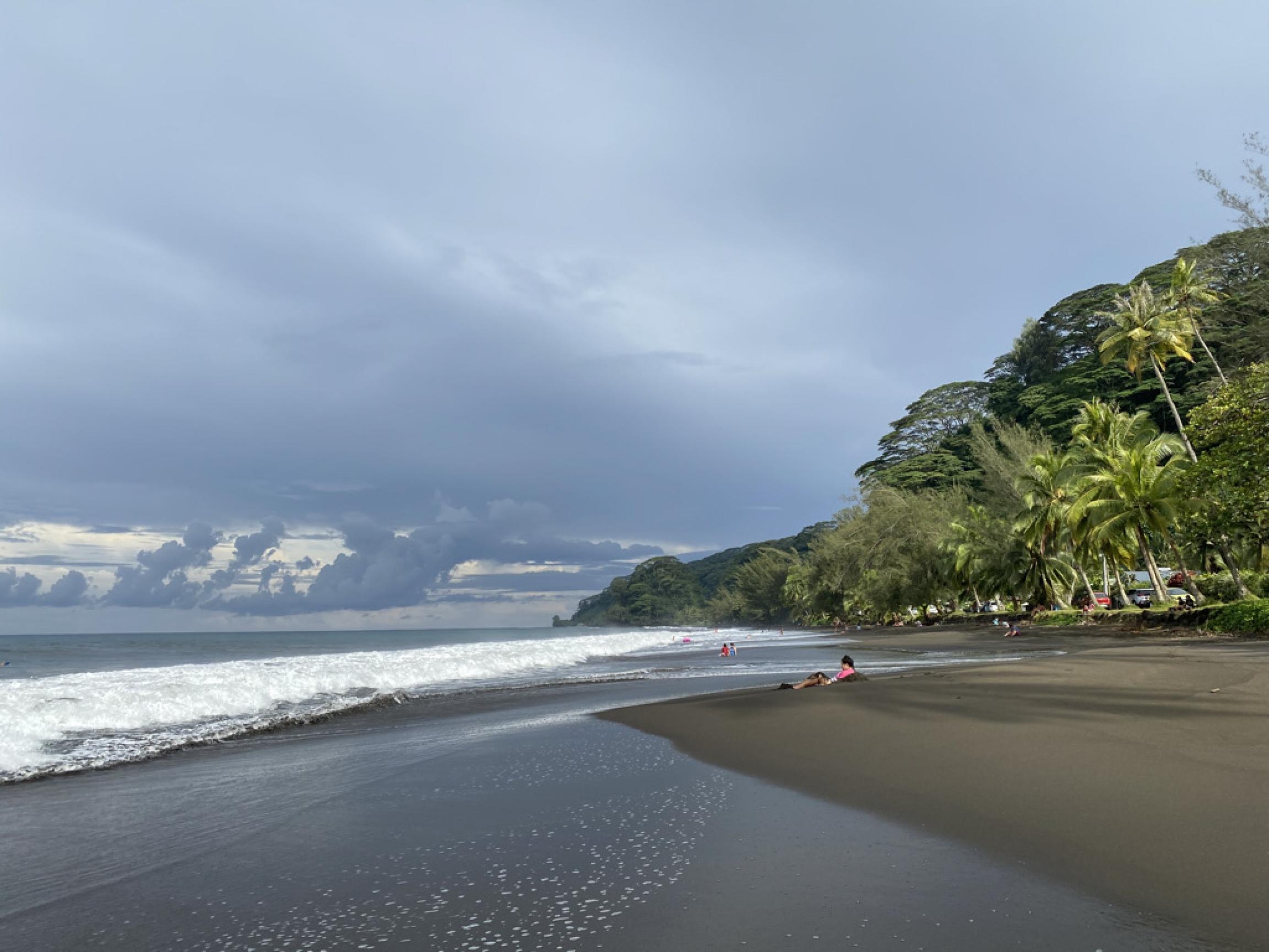 An empty beach in Tahiti.