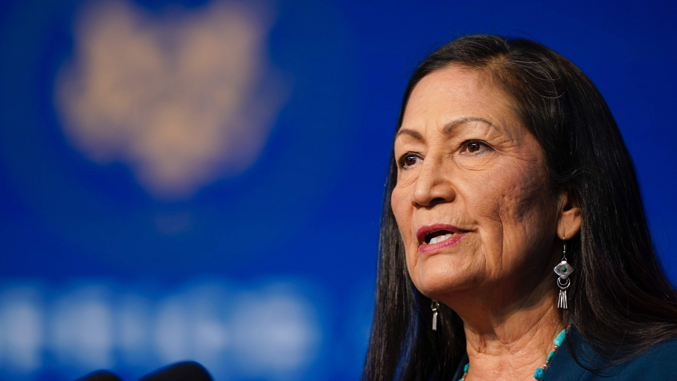 The Biden administration's nominee for secretary of interior, Democratic Rep. Deb Haaland, from New Mexico, speaks at The Queen Theater in Wilmington, Delaware,Dec. 19, 2020.