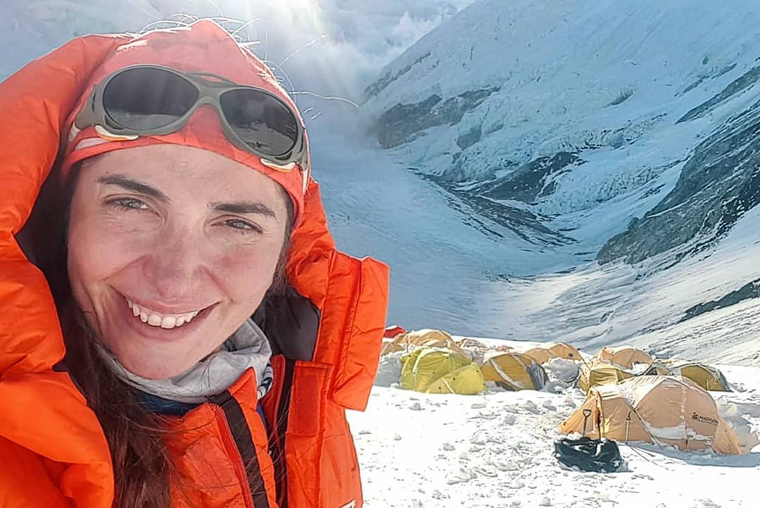 Joyce Azzam at Camp III while climbing Mt. Everest in May 2019.