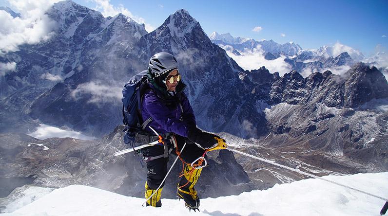 Mona Shahab climbing Lobouche in East Nepal in 2019.