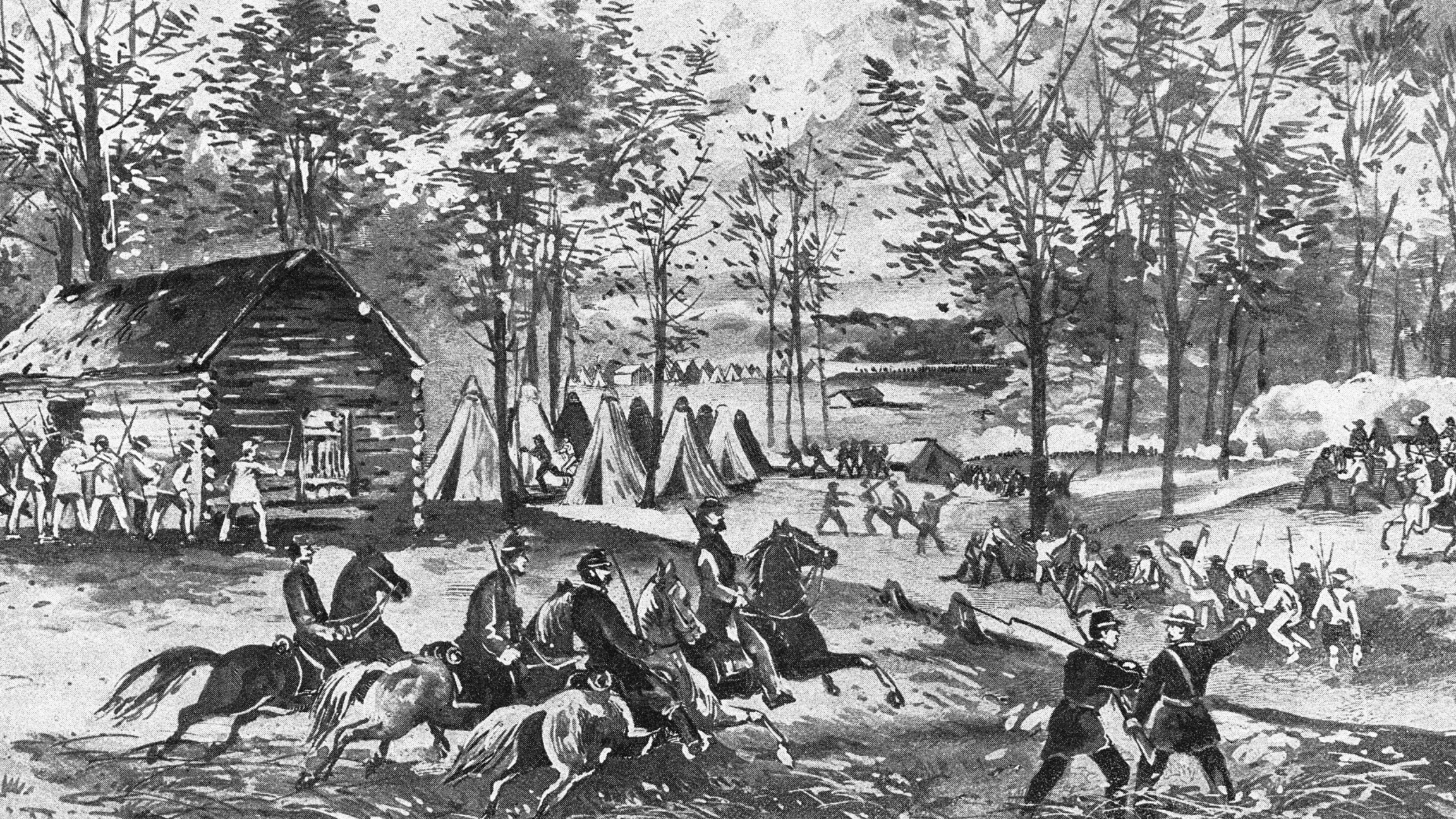 Black and white painting of a civil war scene in Tennessee