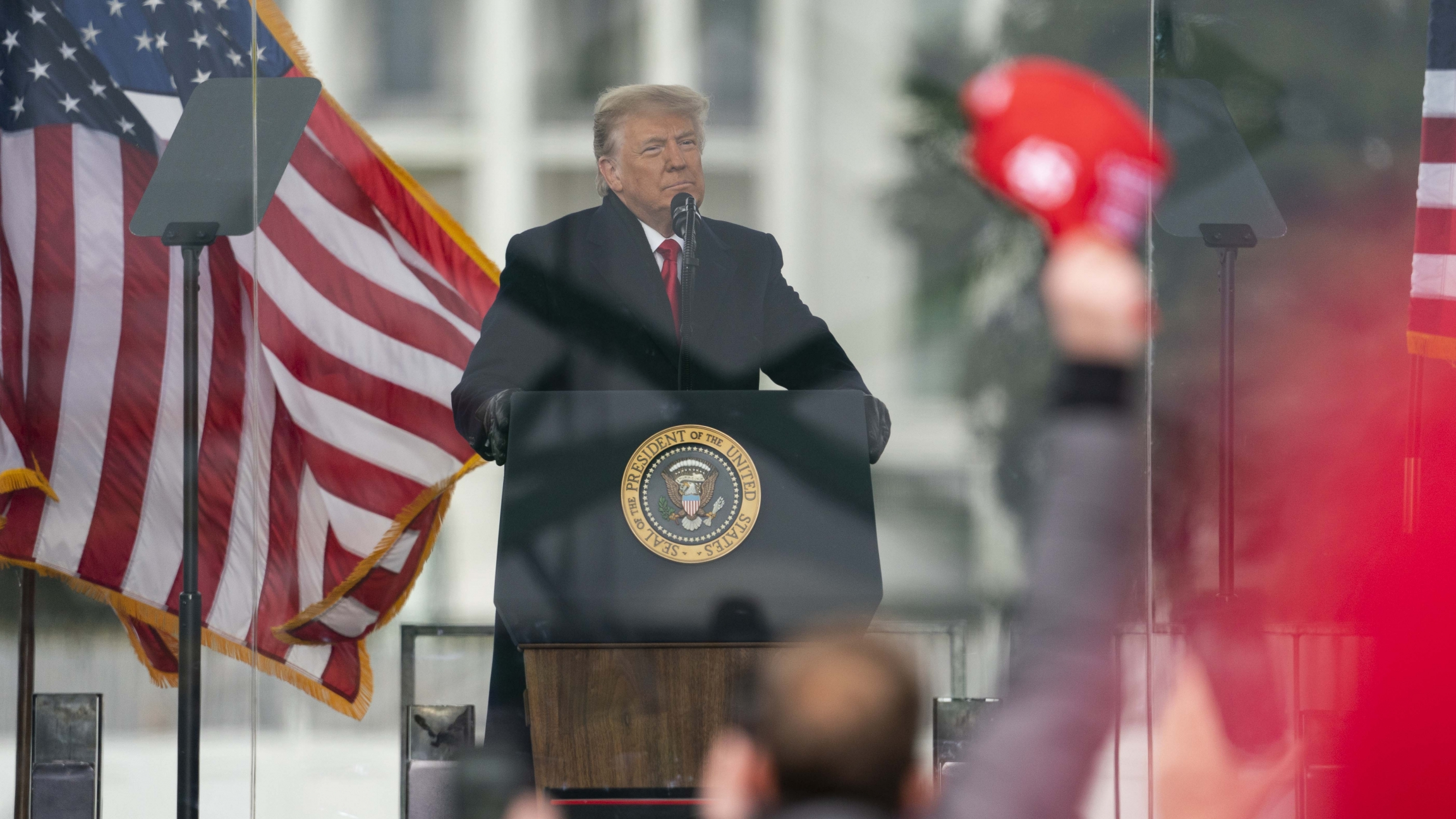 President Donald Trump speaks during a rally protesting the electoral college certification of Joe Biden as President, Jan. 6, 2021, in Washington, DC.