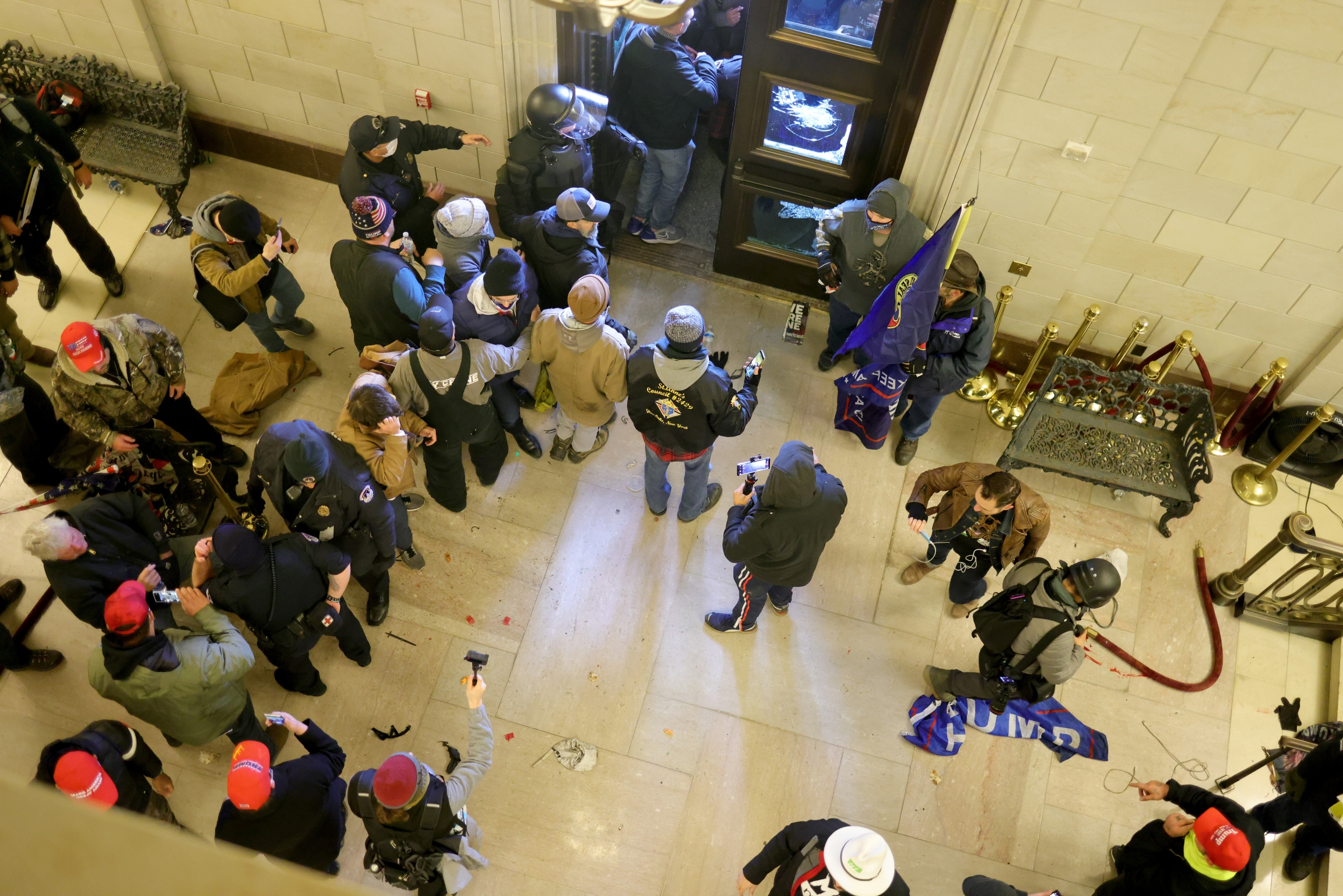 Protesters enter the US Capitol Building on Jan.06, 2021, in Washington, DC.