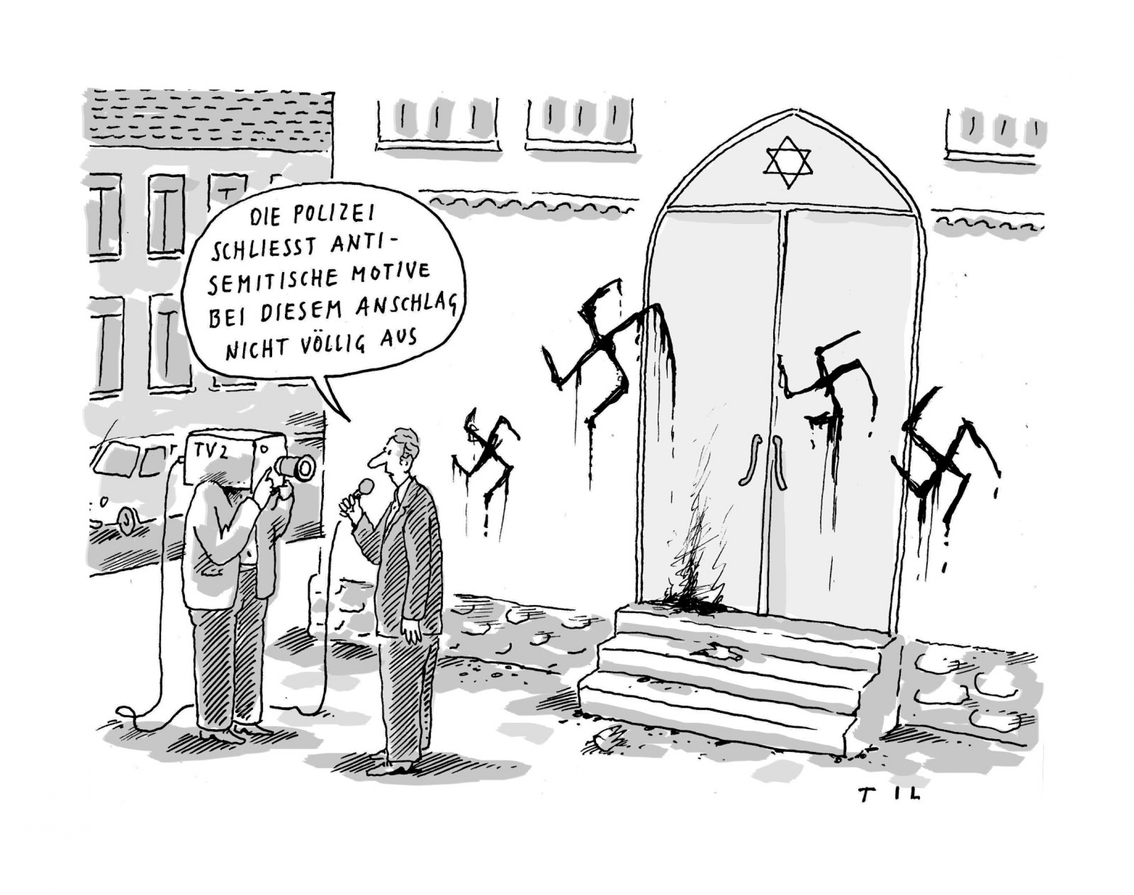 A black and white cartoon of four swastikas spray-painted on a synagogue with two people talking about who did it