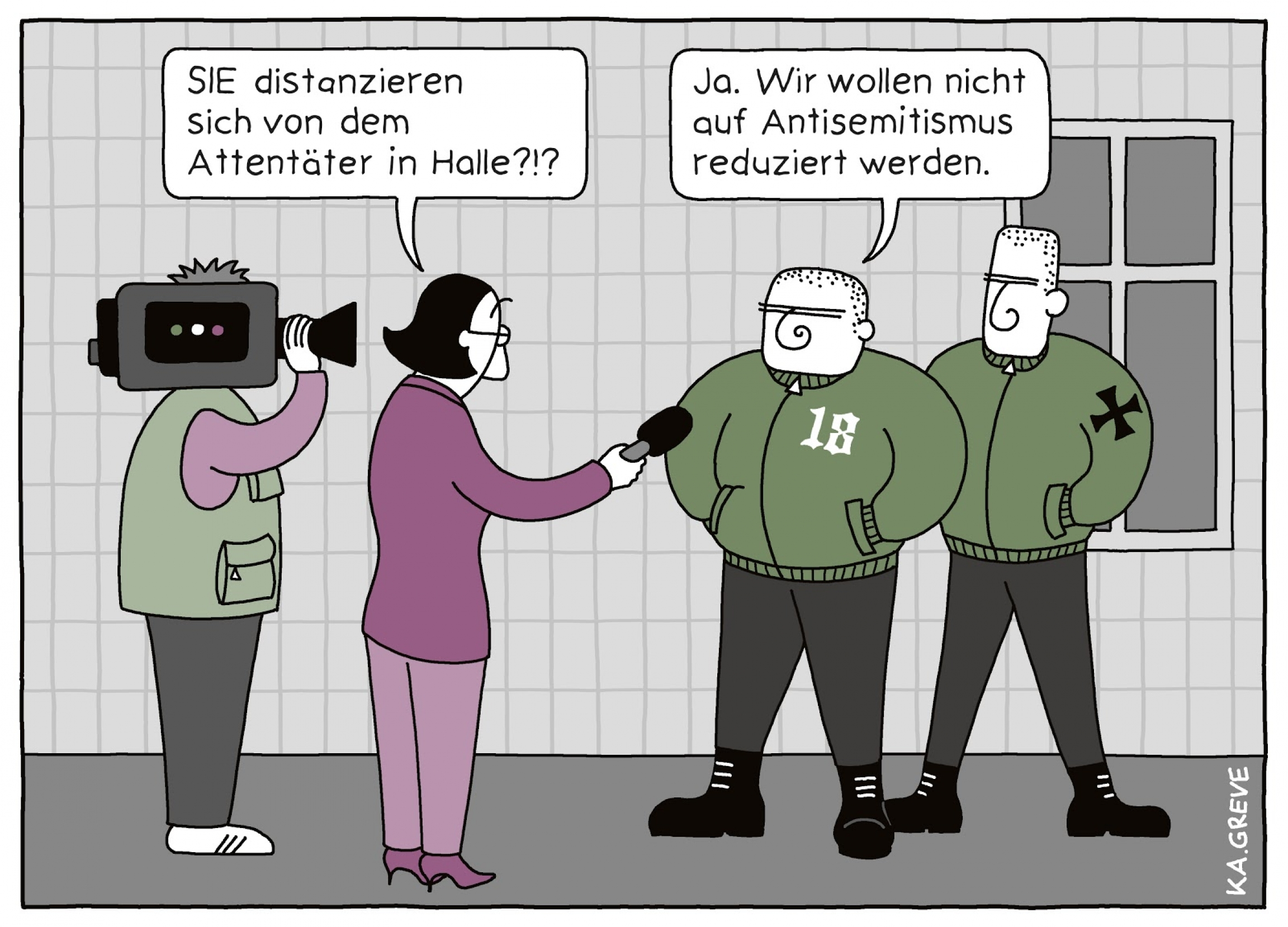 A cartoon features two media folks talk with Nazis wearing green bomber jackets