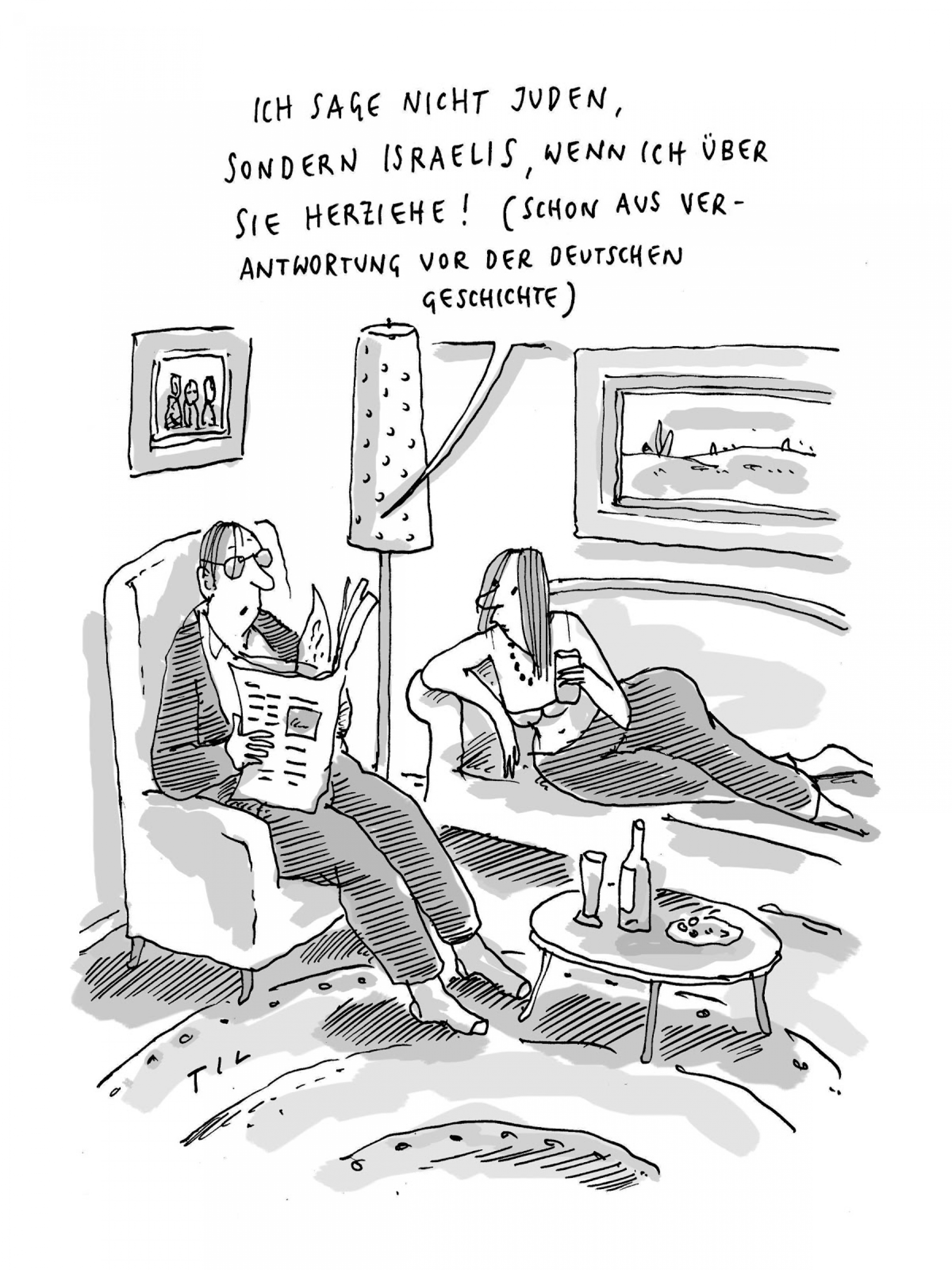 A black and white cartoon of two people talking in a living room.