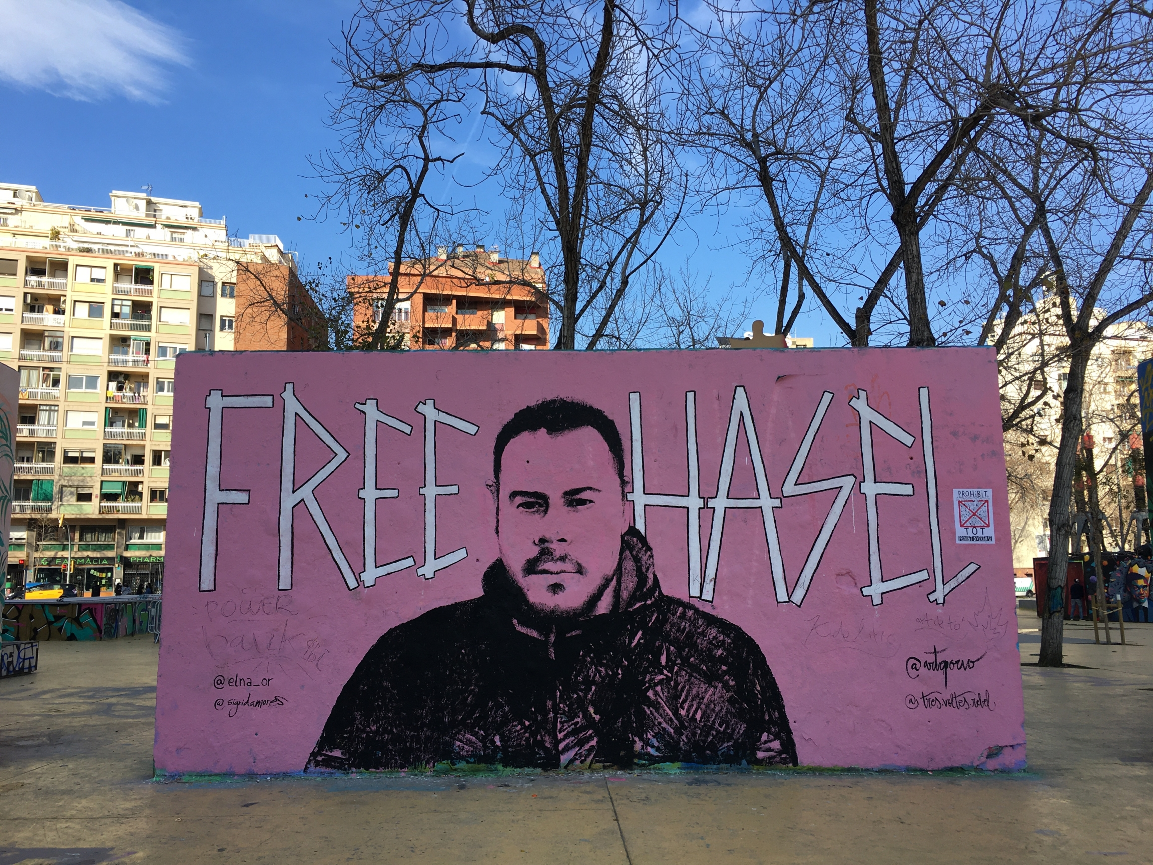 Protesters across Spain have taken to the streets to demand rapper Pablo Hasél's release from prison and murals like this one have gone up across the country. This one from downtown Barcelona was painted earlier in the month, before the rapper's recent ar