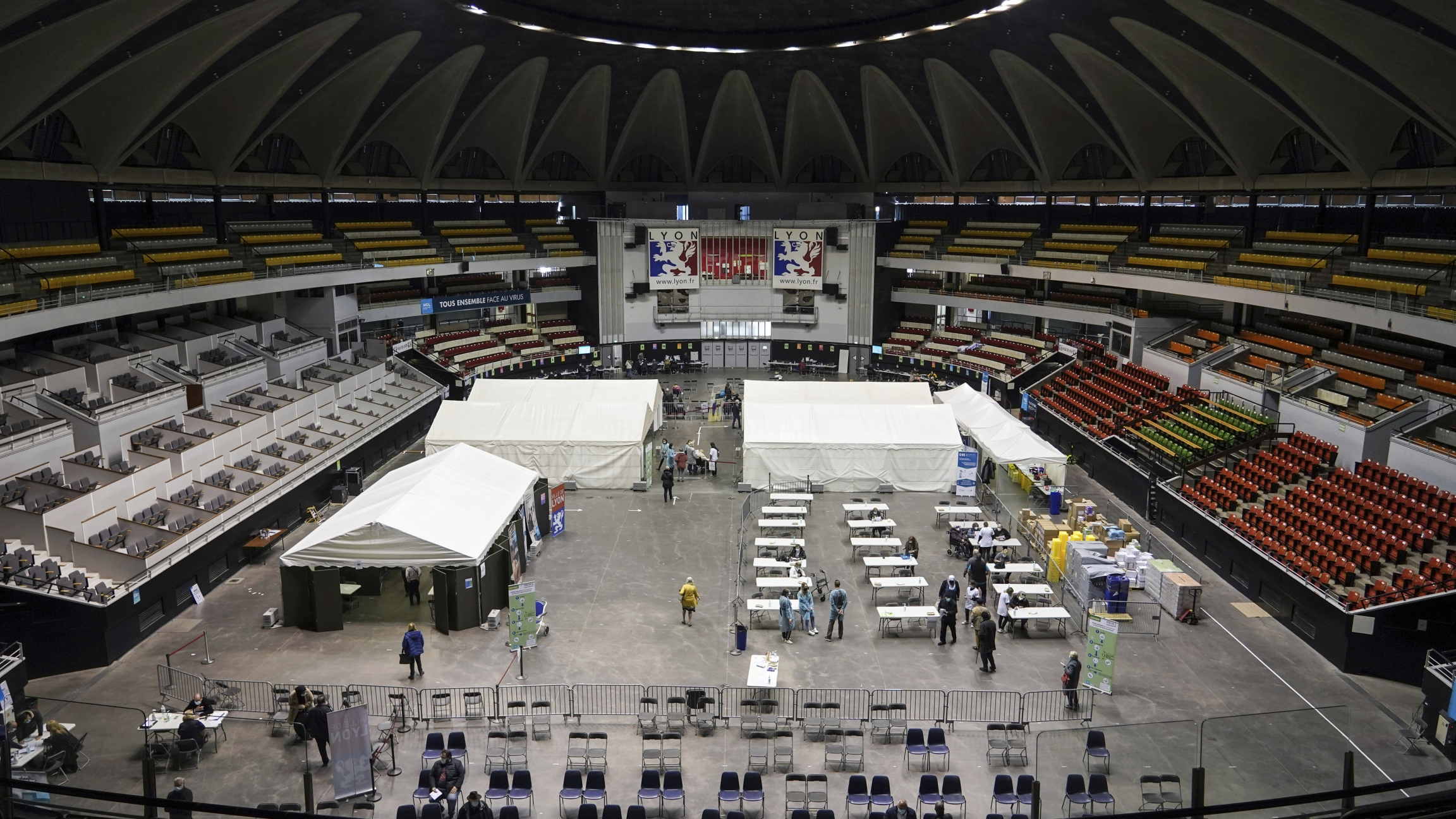 A stadium is set up as a vaccination drive site in France.