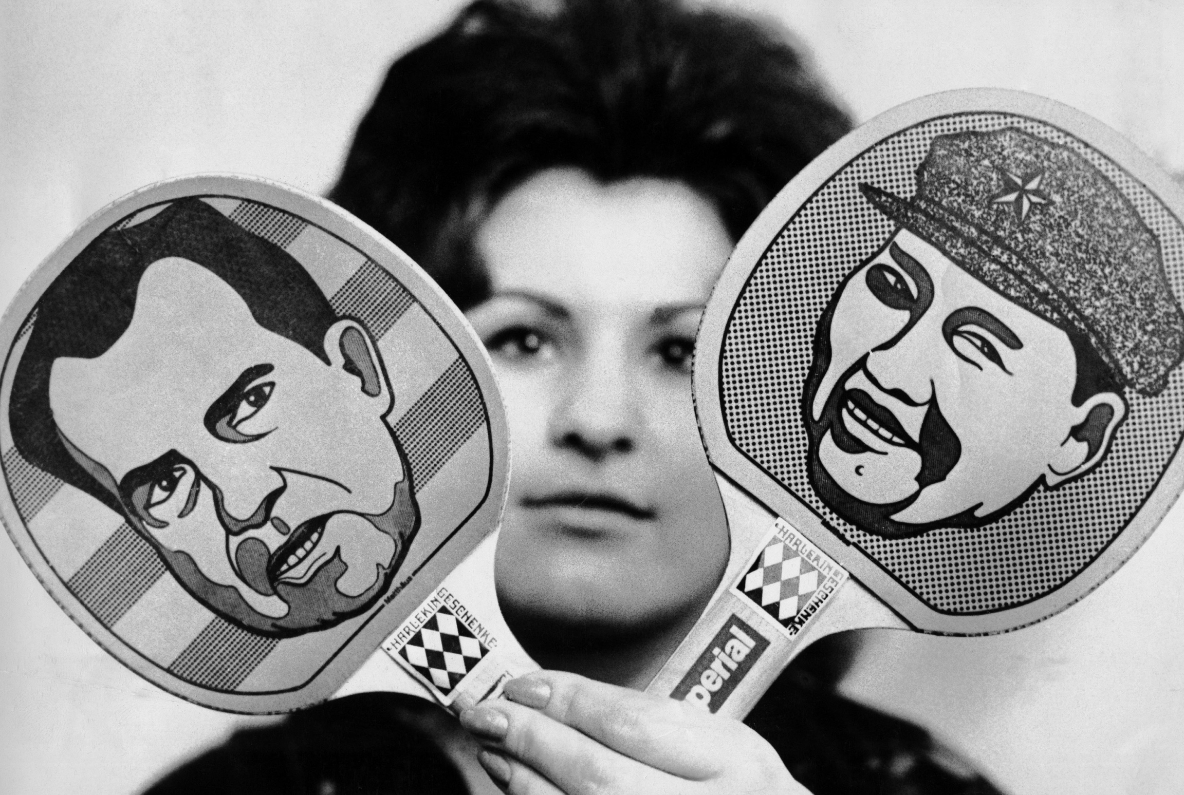 Pingpong paddles features faces of Richard Nixon and Chinese Chairman Mao Tse-tung
