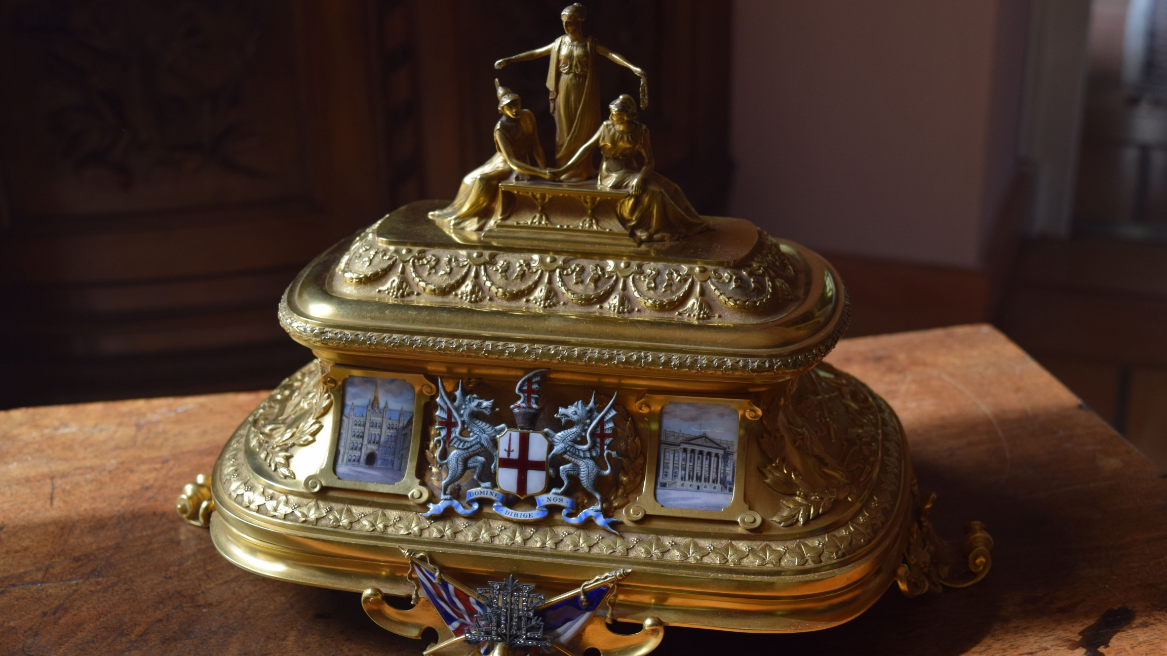"Up-close photo of the golden chest featured in the treasure hunt, ""The Golden Treasure of the Entente Cordiale."""