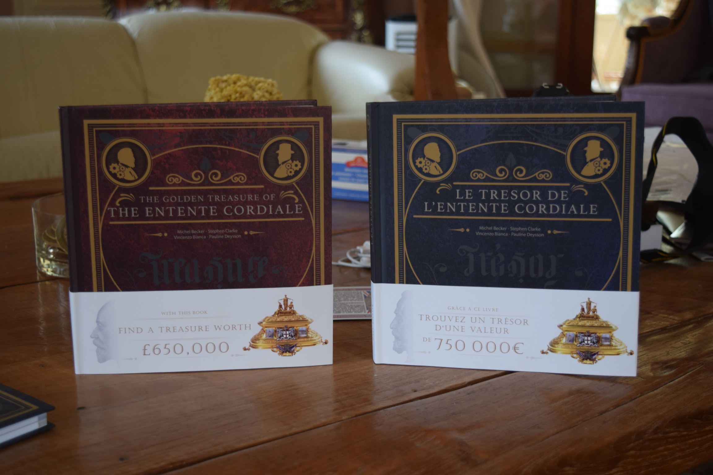 """Two books about the """"The Golden Treasure of the Entente Cordiale"""" needed to complete the treasure hunt."""