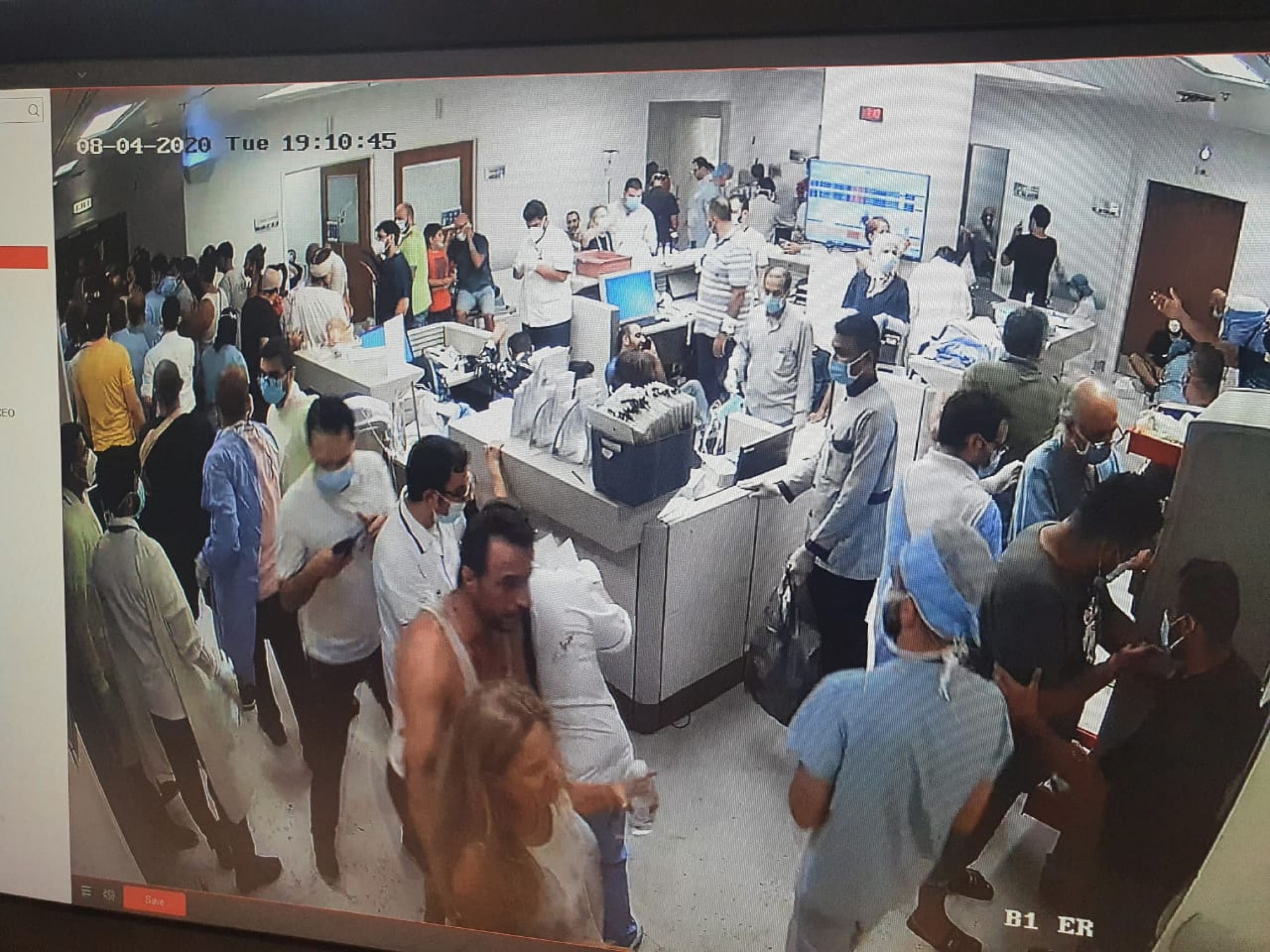 The view from the security camera of the Clemenceau Medical Center, as doctors scramble to treat the injured from the Aug. 4 blast at Beirut's port.