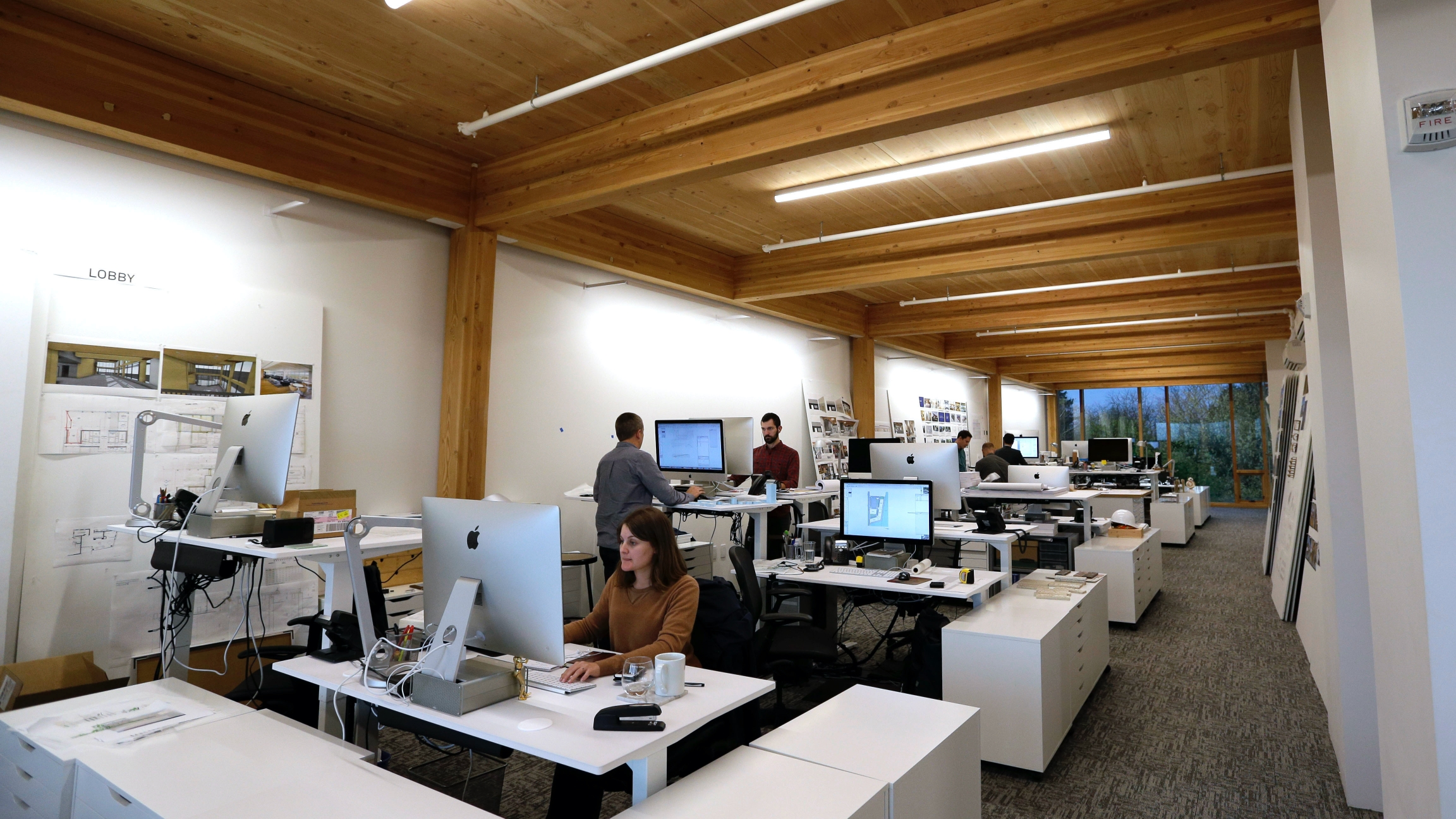 An upper floor of Lever Architecture headquarters, a four-story, all-wood building built using cross-laminated timber, or CLT, is shown in Portland, Oregon, Nov. 15, 2016.