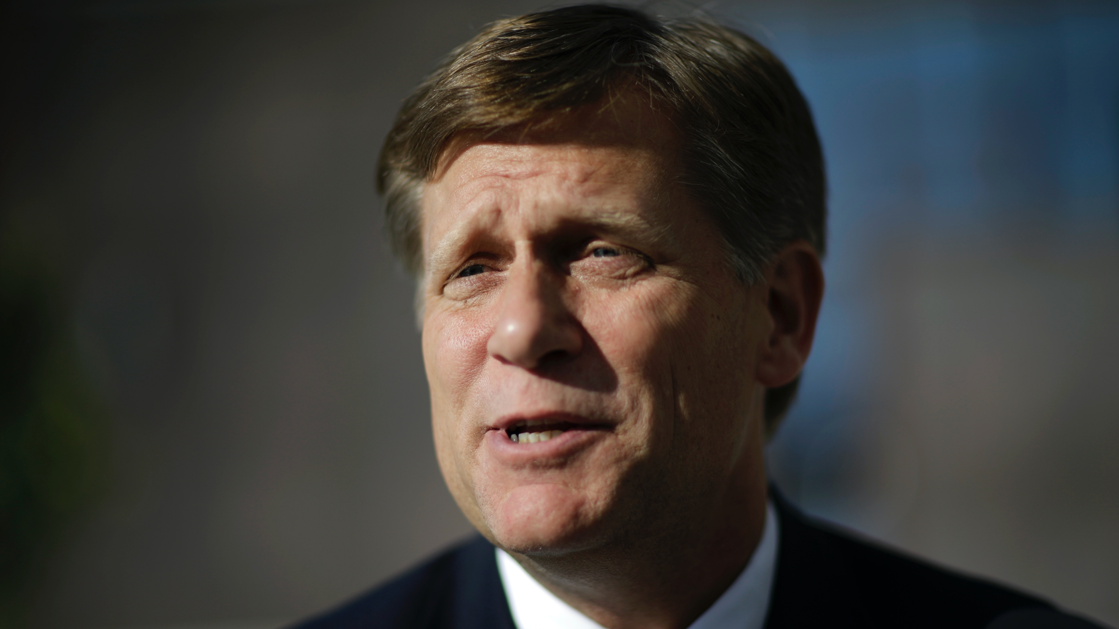 Former US ambassador to Russia, Michael McFaul, speaks with a reporter in Sochi, Russia, Feb. 7, 2014.