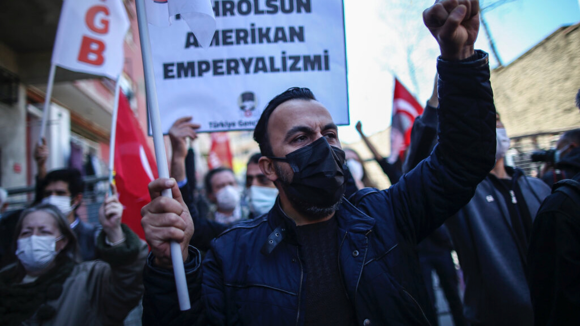 Supporters of the Turkey Youth Union chant slogans during a protest against US President Joe Biden's statement, outside the US consulate in Istanbul, April 26, 2021.