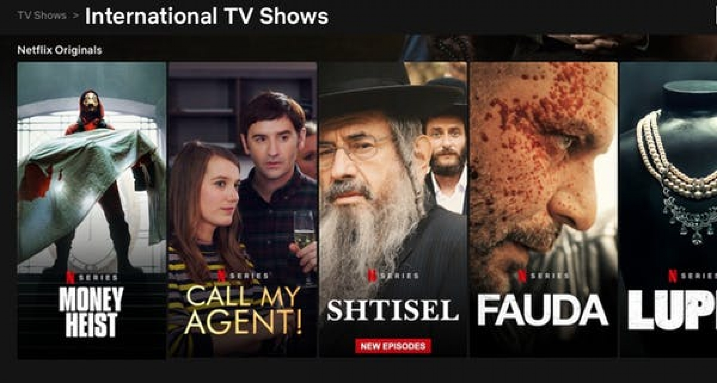 A snippet of Netflix's international lineup on April 2, 2021.