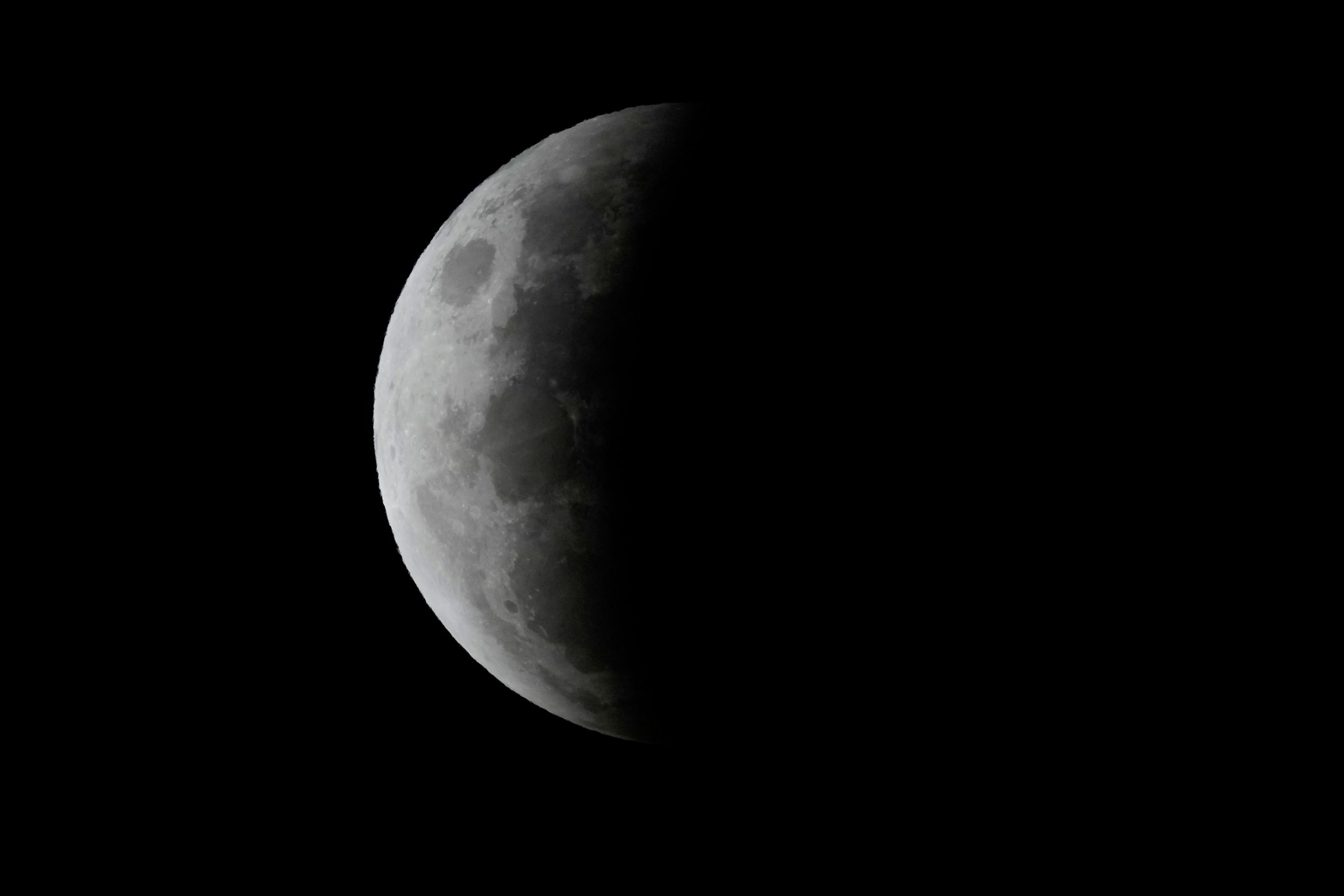 The total lunar eclipse continues with a shadow on about 75% of the moon.