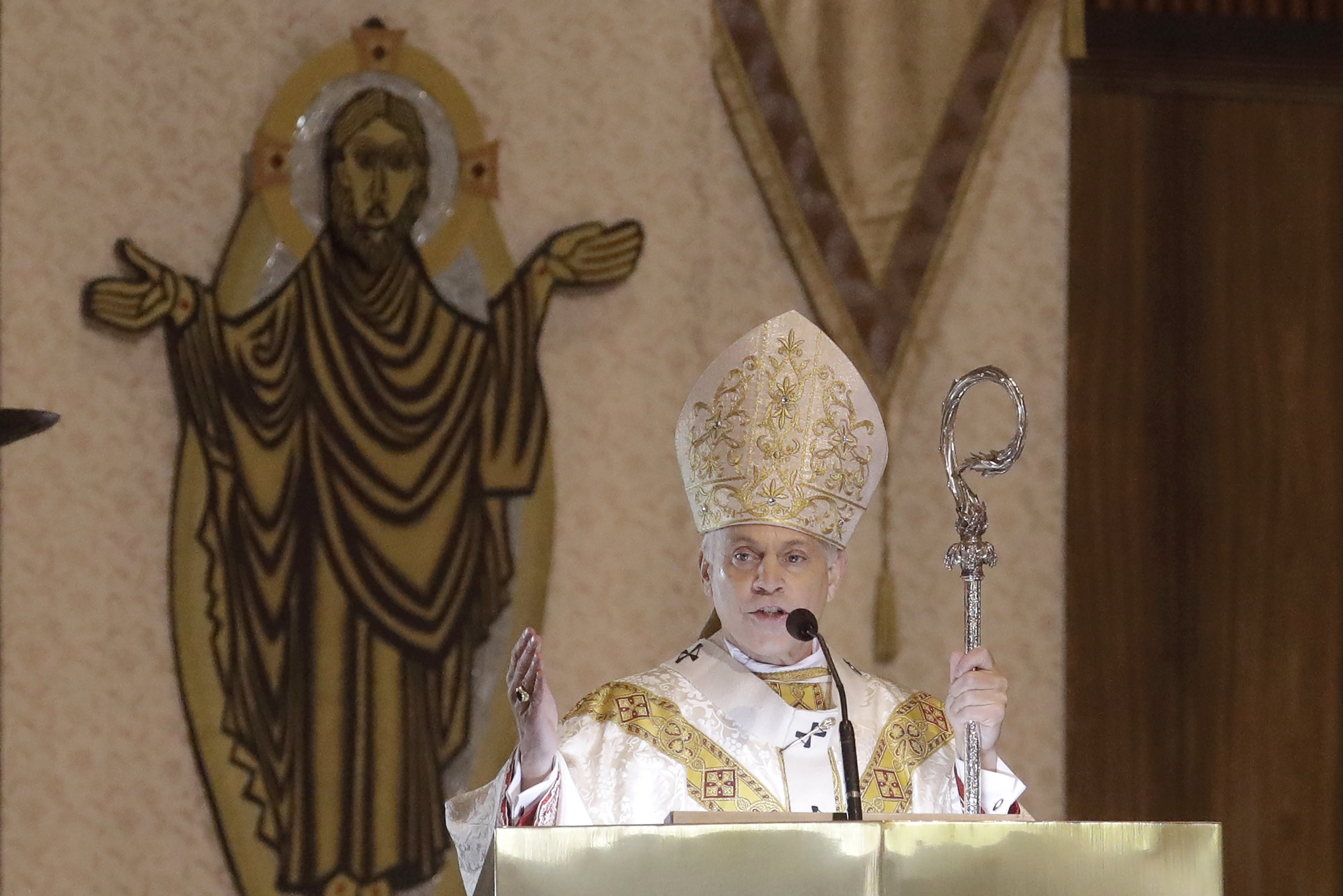 San Francisco Archbishop Salvatore Cordileone celebrates Easter Mass, which was live-streamed, at St. Mary's Cathedral in San Francisco, April 12, 2020.