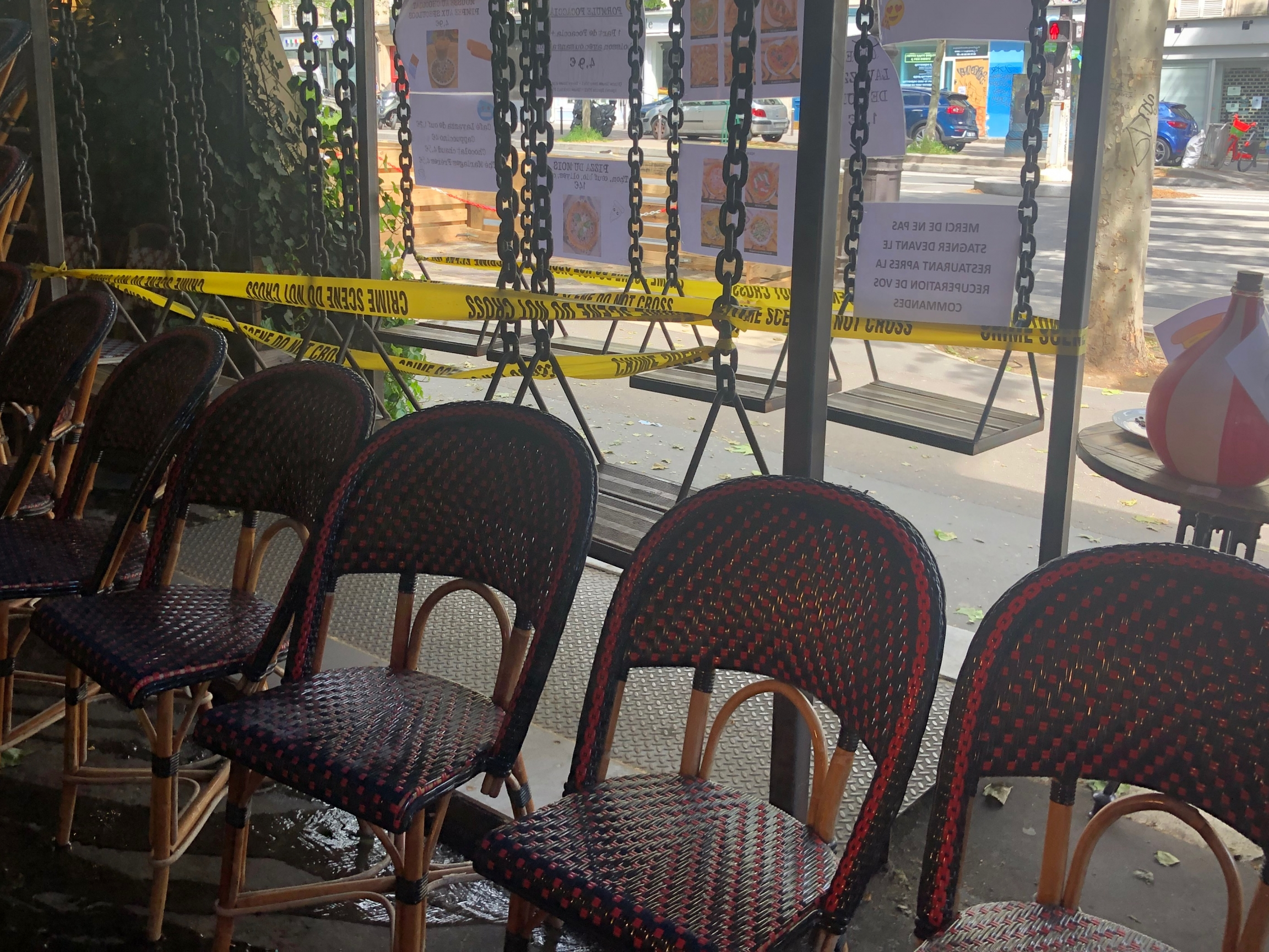 The famous Parisian wicker chairs make their comeback in preparation for Wednesday's reopening.