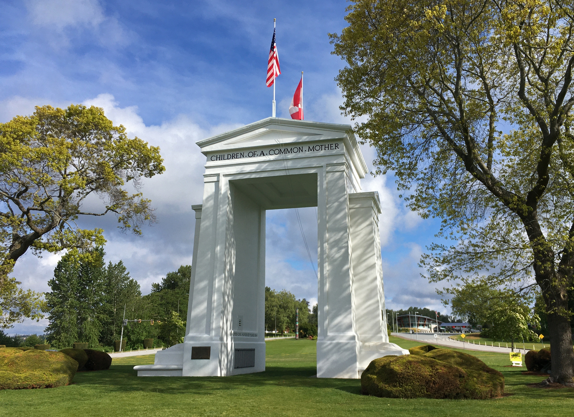 Peace Arch straddles the US-Canada border in Blaine, Washington, and Surrey, British Columbia.