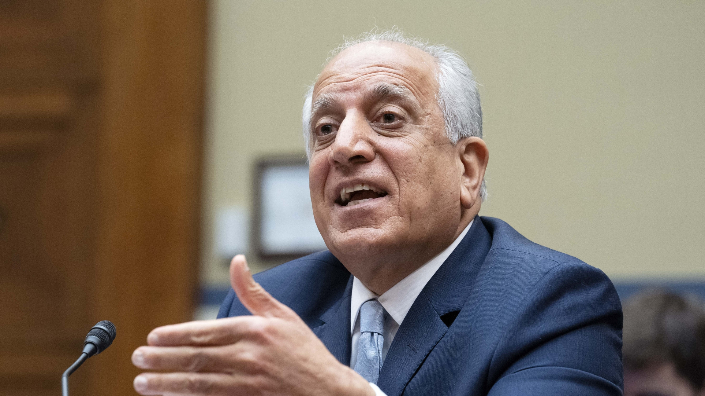 Special Representative for Afghanistan Zalmay Khalilzad speaks during the House Committee on Oversight and Reform Subcommittee hearing on Next Steps for US Engagement in Afghanistan at Capitol Hill in Washington, Thursday, May 20, 2021.