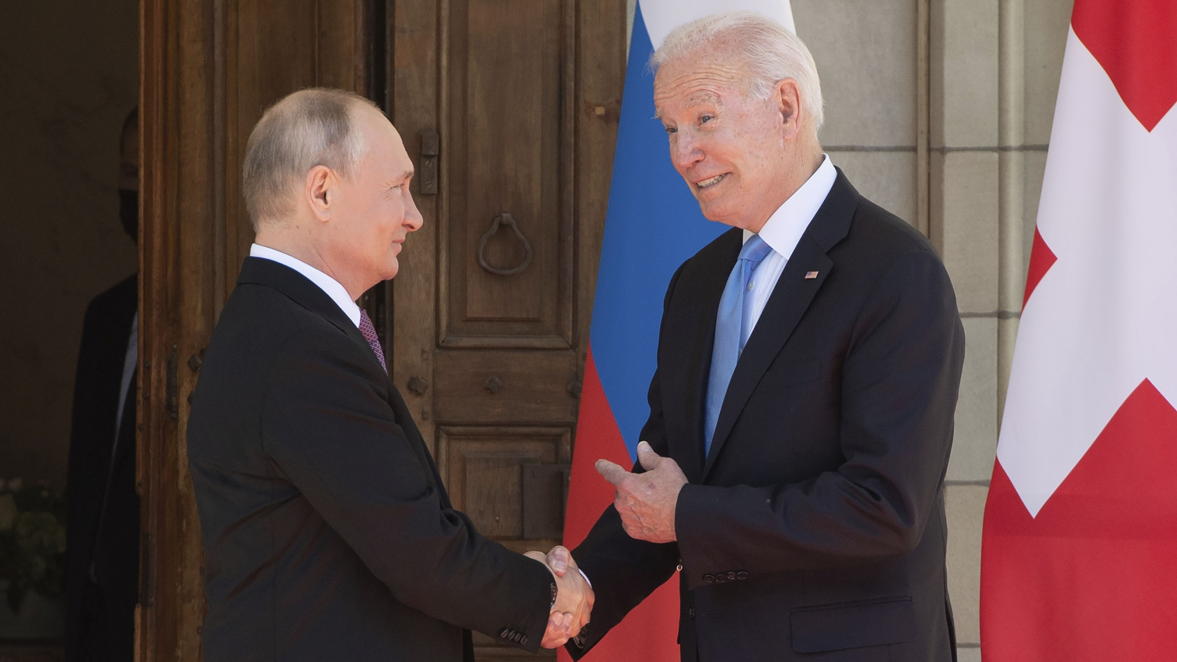 President Joe Biden and Russian President Vladimir Putin, arrive to meet at the Villa la Grange, Wednesday, June 16, 2021, in Geneva, Switzerland.