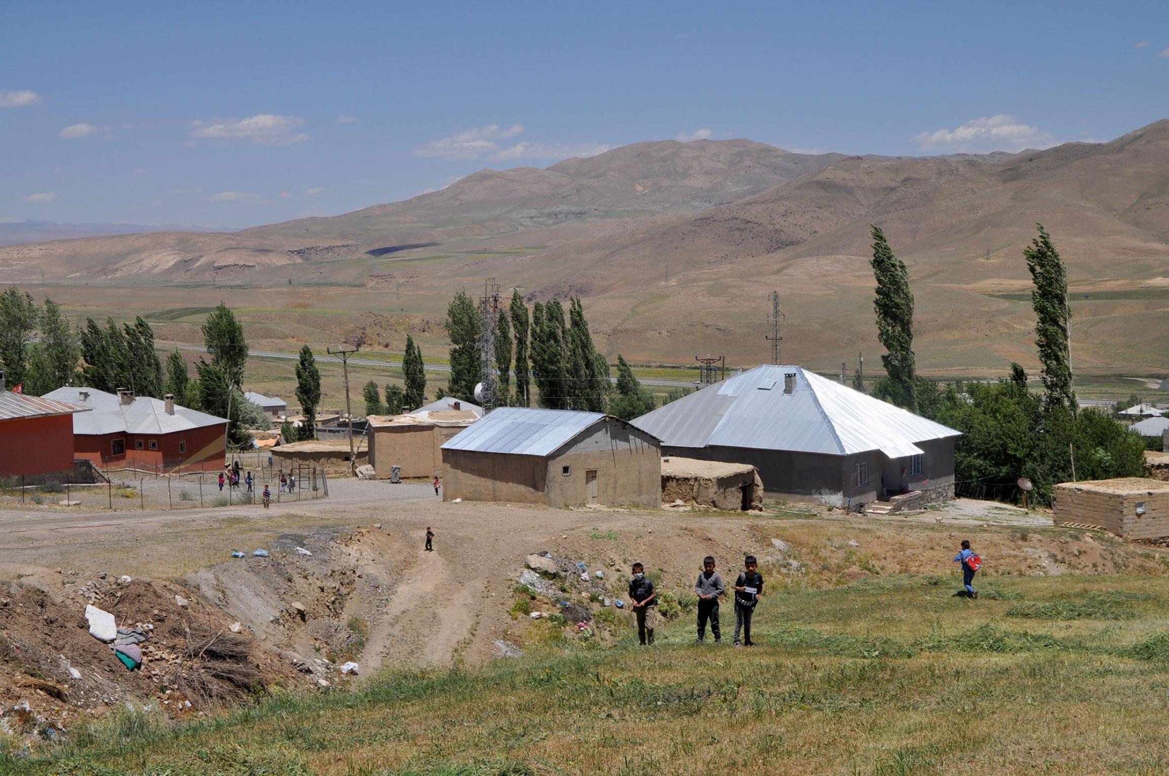 Children leave school in the village of Ömerova in Turkey