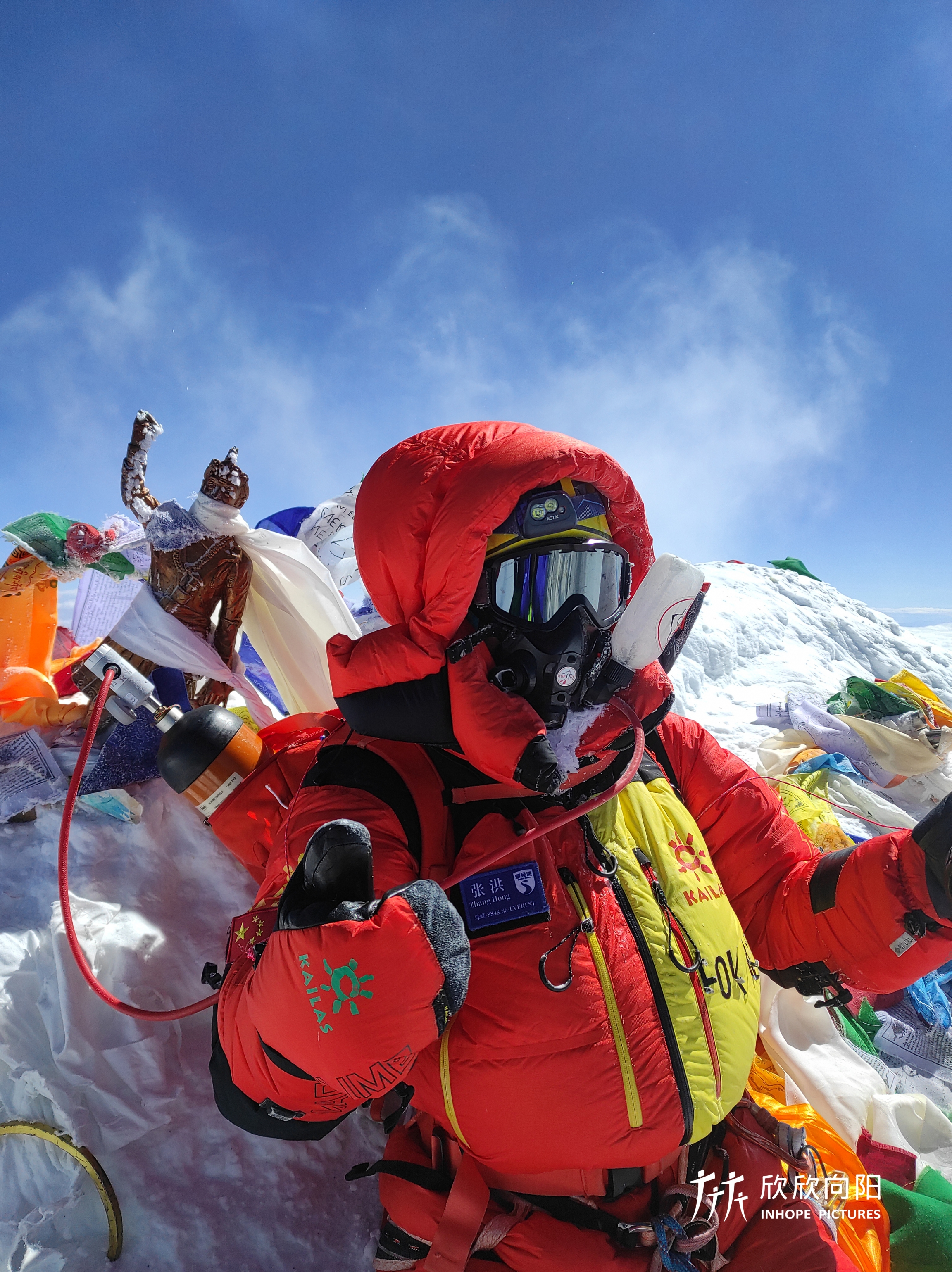 Man in a red coat amid a snowy Mount Everest