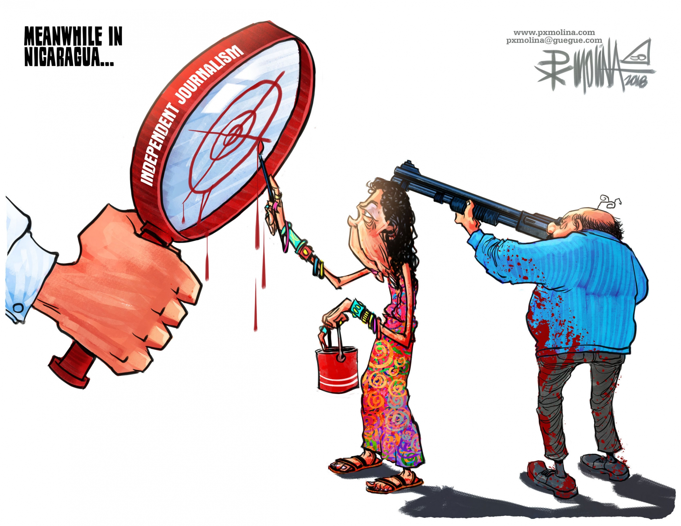 A cartoon showing a man with a rifle pointed at a magnify glass and a woman painting a red target on the glass.