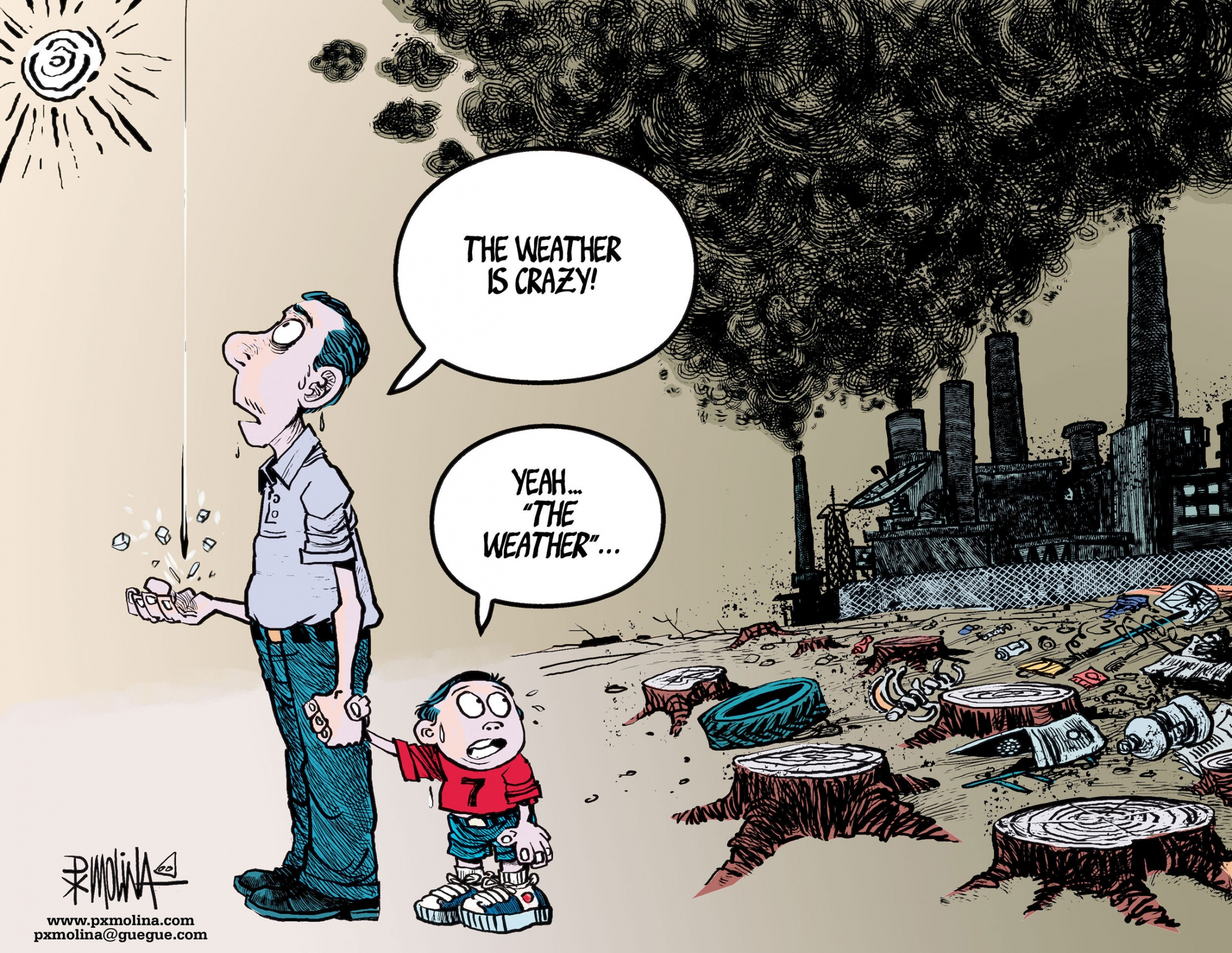 A cartoon showing a man looking up and a young boy looking back at a factory polluting the air and clear cut forest.
