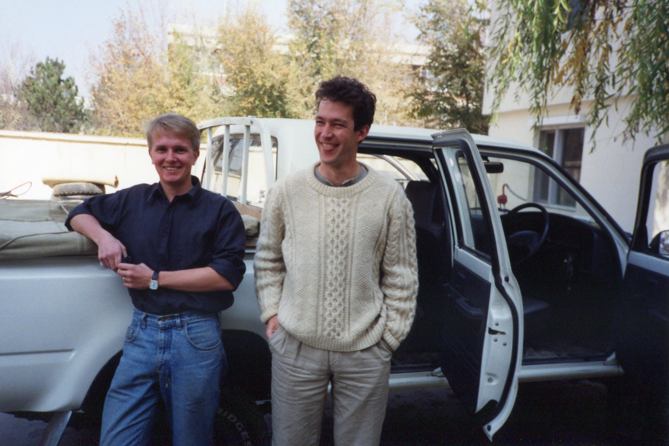 The author, Chris Woolf(left), and BBC colleague, Chris Bowers, at the beginning of the convoy, Nov. 7, 1991.