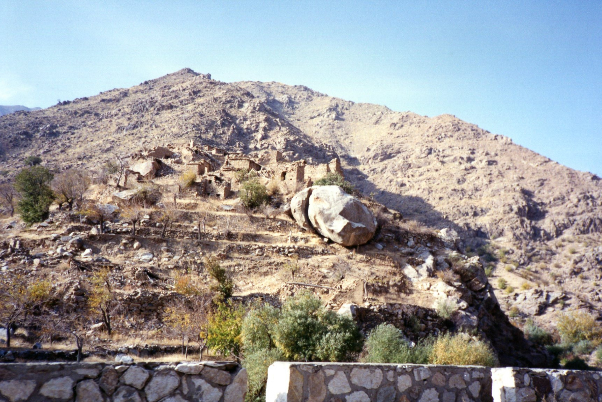 A wrecked and mined village in the Salang Valley, Afghanistan, Nov. 7, 1991.